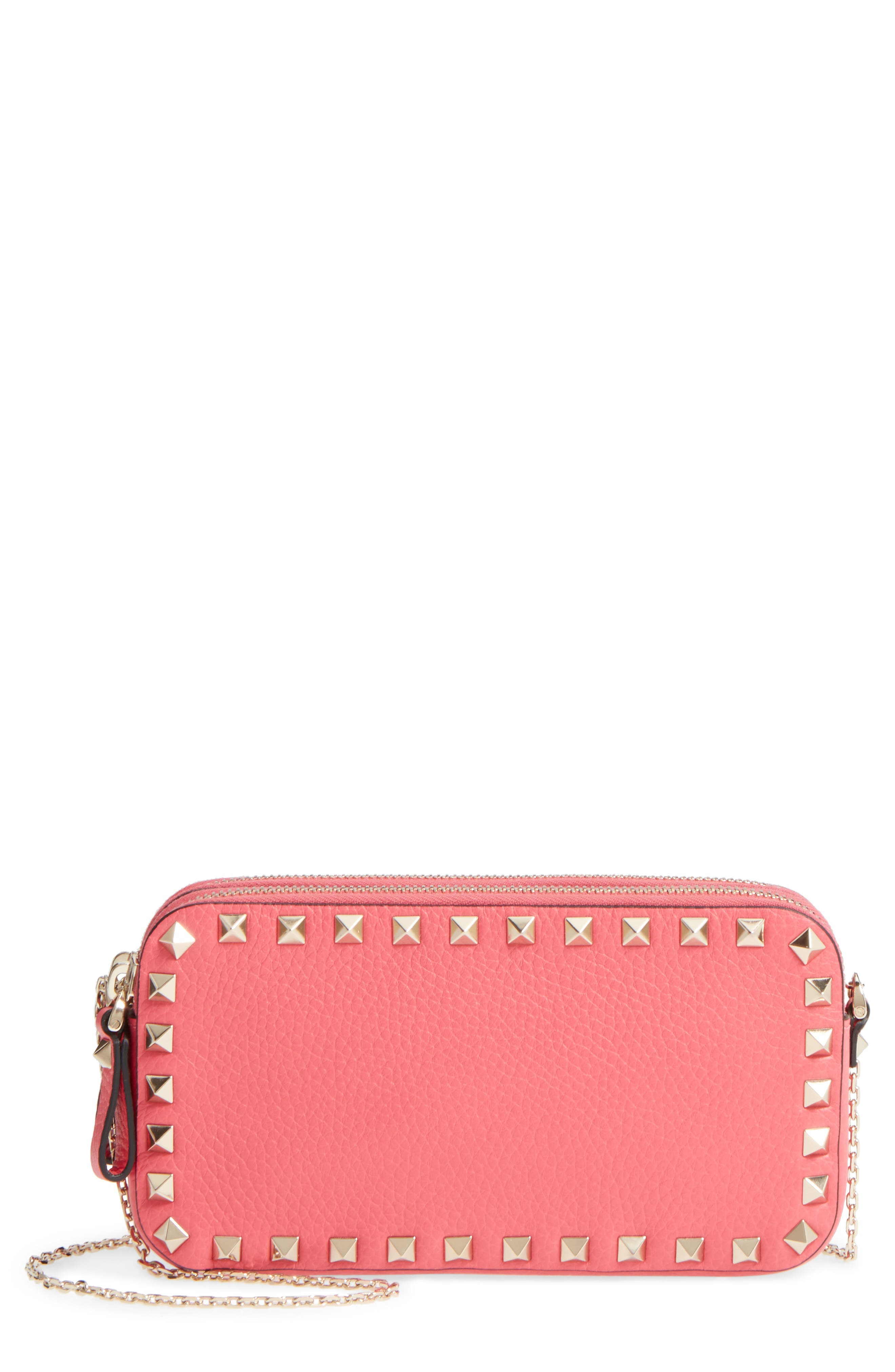 Rockstud Leather Pouch,                         Main,                         color, Shadow Pink