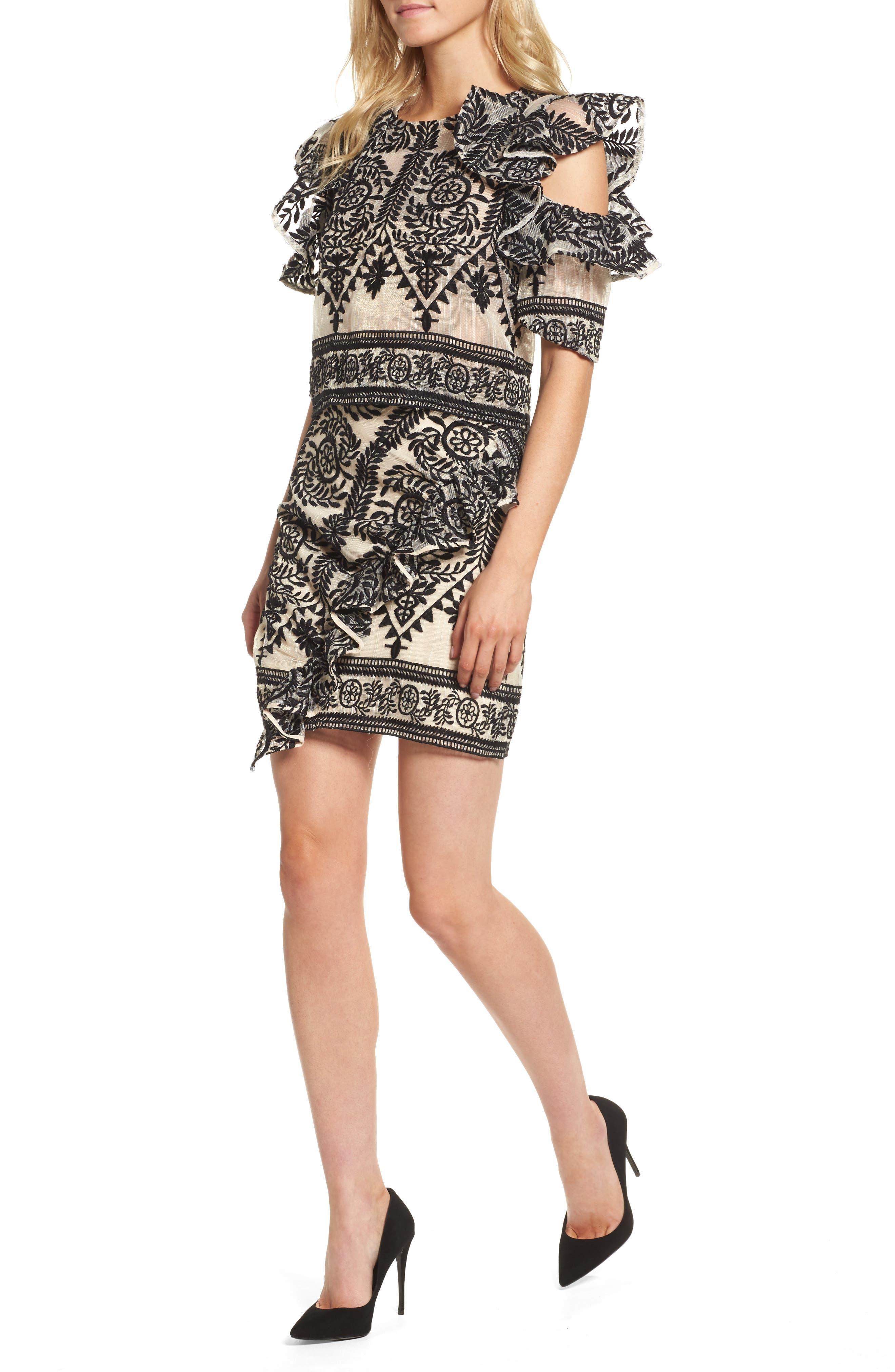 Soiree Ruffle Miniskirt,                             Alternate thumbnail 2, color,                             Black