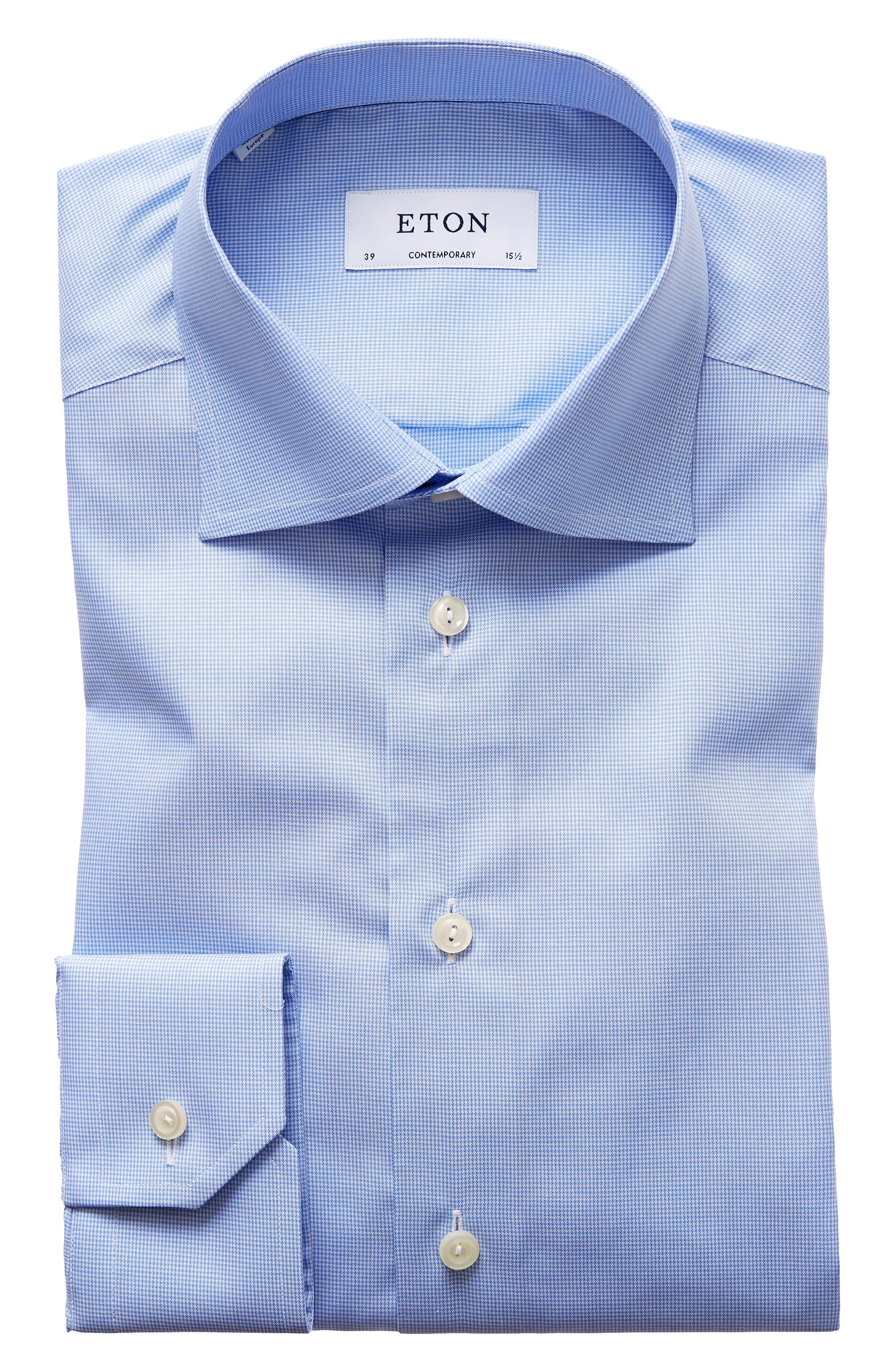 Contemporary Fit Houndstooth Dress Shirt,                             Alternate thumbnail 5, color,                             Blue