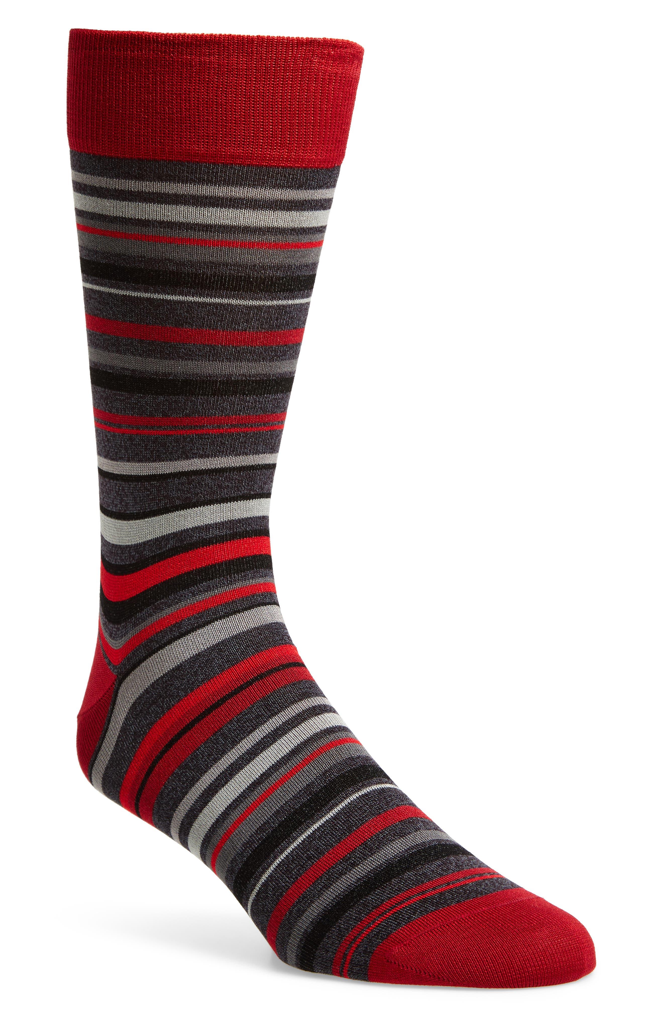 Alternate Image 1 Selected - Bugatchi Multi Stripe Crew Socks