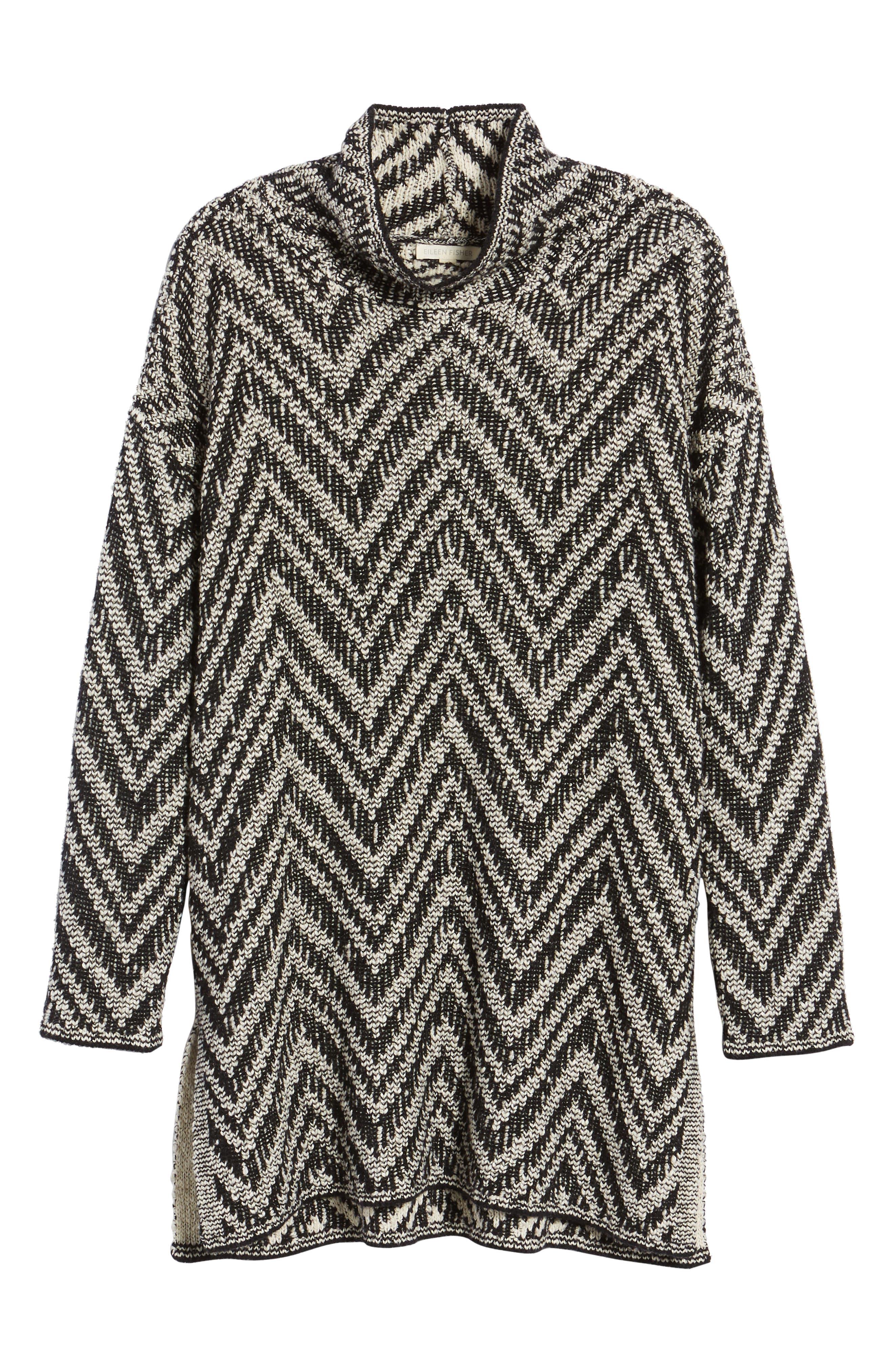 Zigzag Organic Cotton & Alpaca Tunic Sweater,                             Alternate thumbnail 6, color,                             Black/ Soft White
