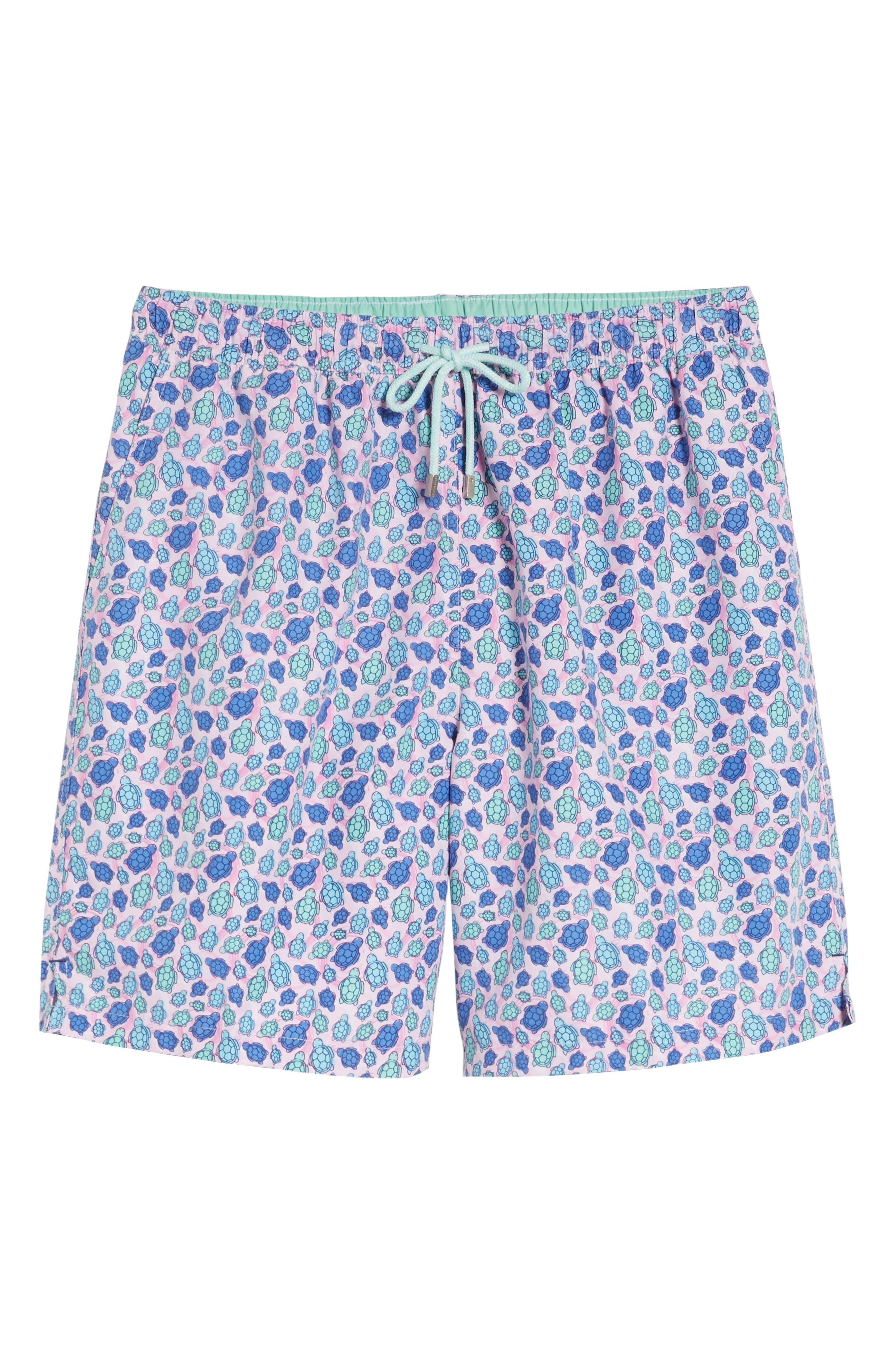 Shelly Turtle Print Swim Shorts,                             Alternate thumbnail 6, color,                             Dusk Pink