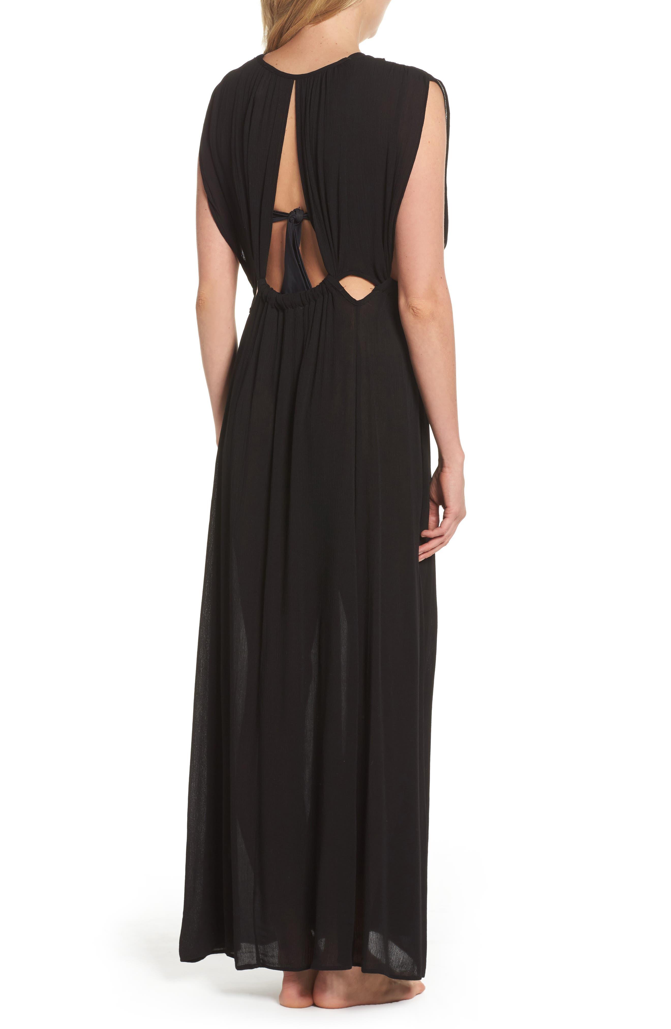 Cutout Maxi Cover-Up Dress,                             Alternate thumbnail 2, color,                             Black