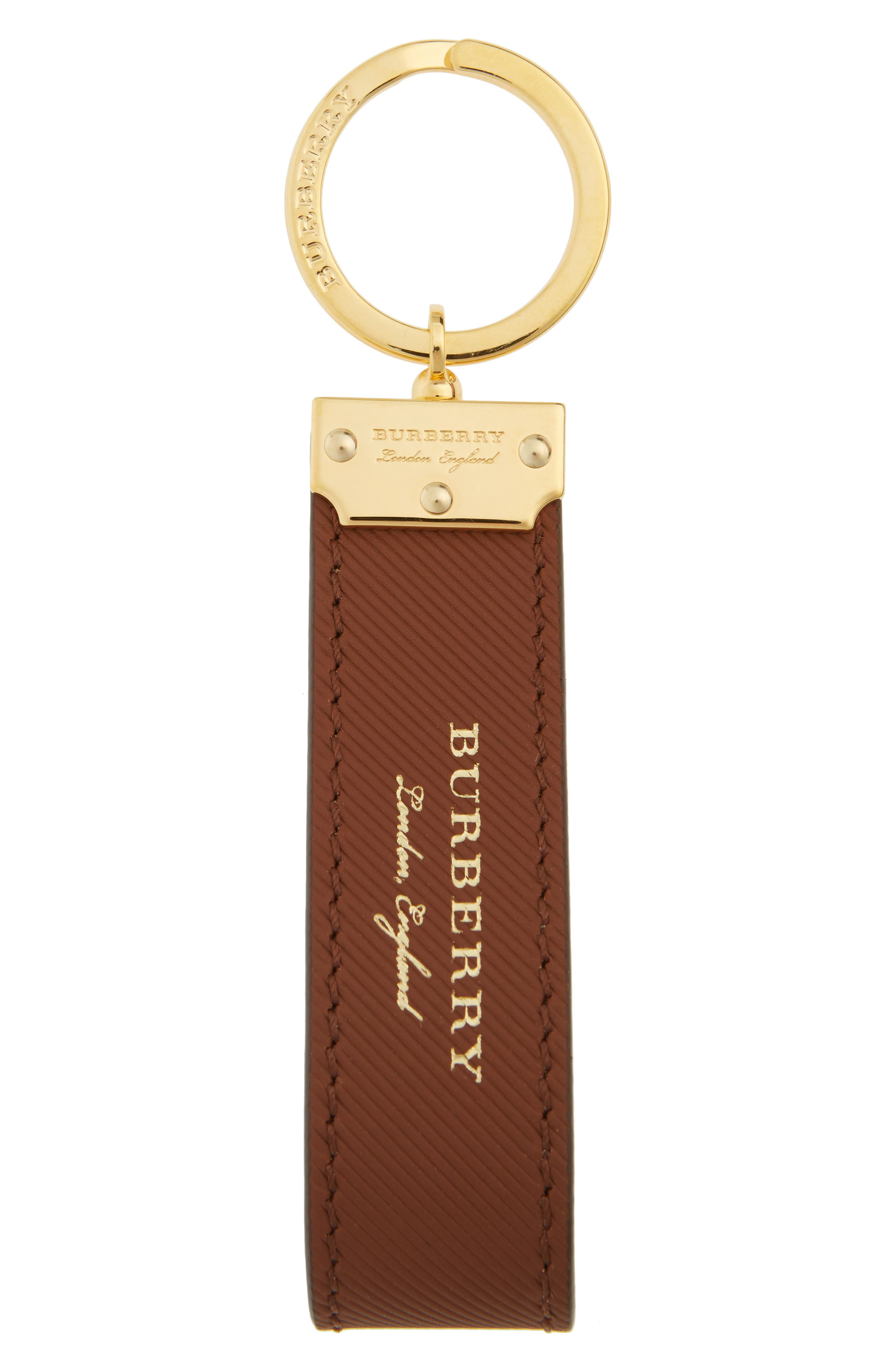 Trench Leather Key Chain,                             Main thumbnail 1, color,                             Tan