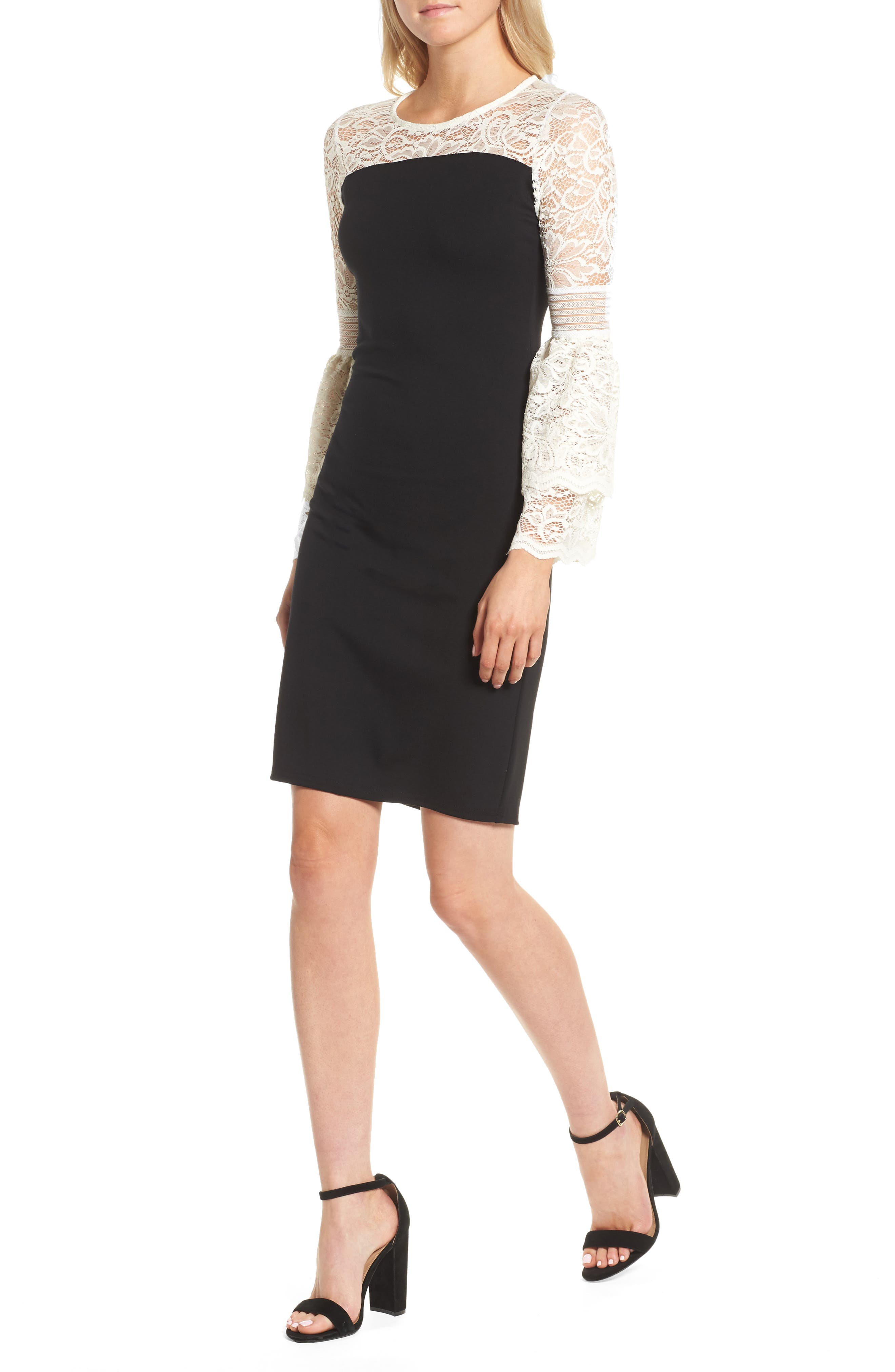 Floetry Bell Sleeve Sheath Dress,                         Main,                         color, Cream Lace/ Black