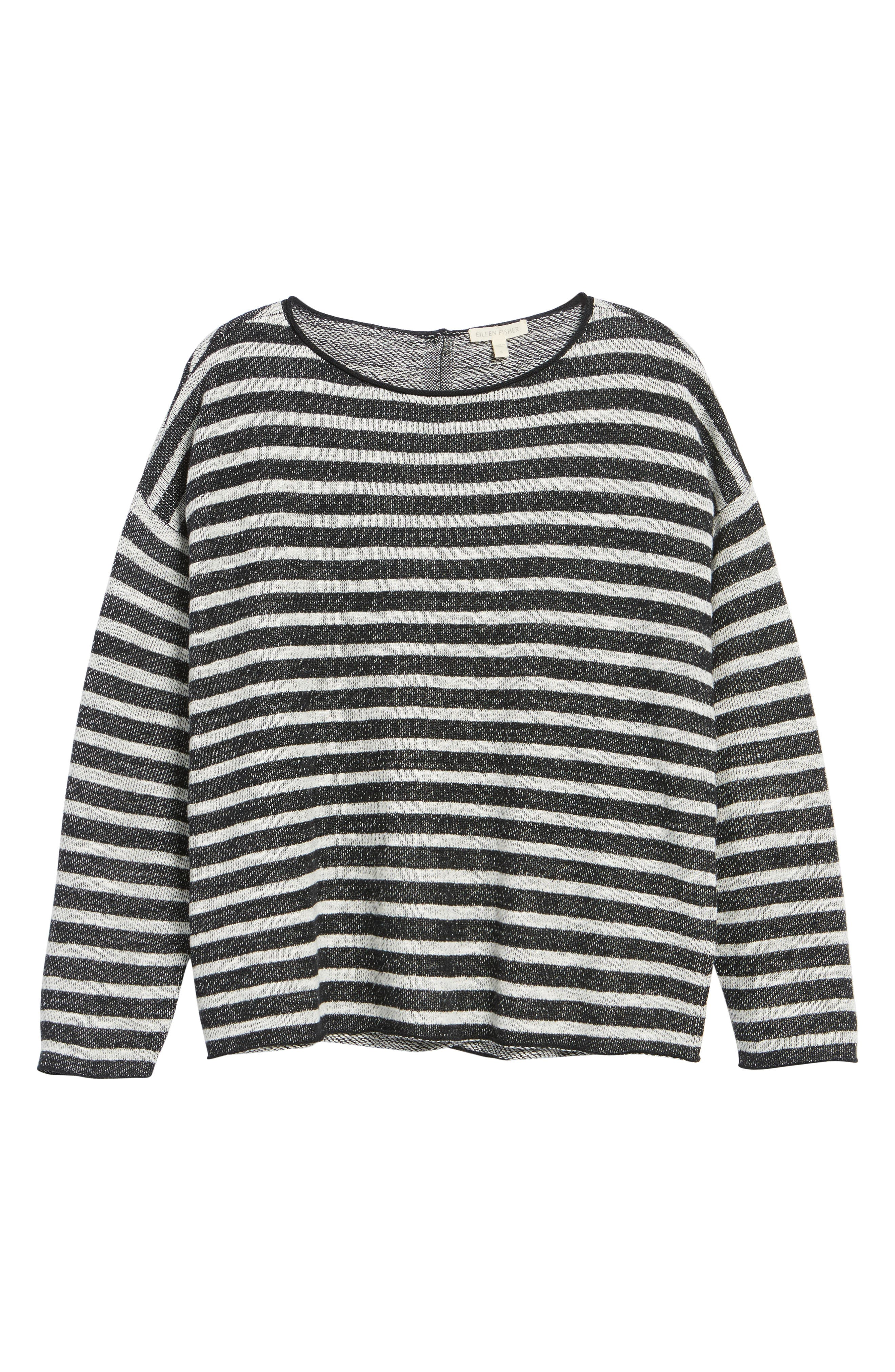 Stripe Organic Linen & Cotton Sweater,                             Alternate thumbnail 7, color,                             Black/ Soft White