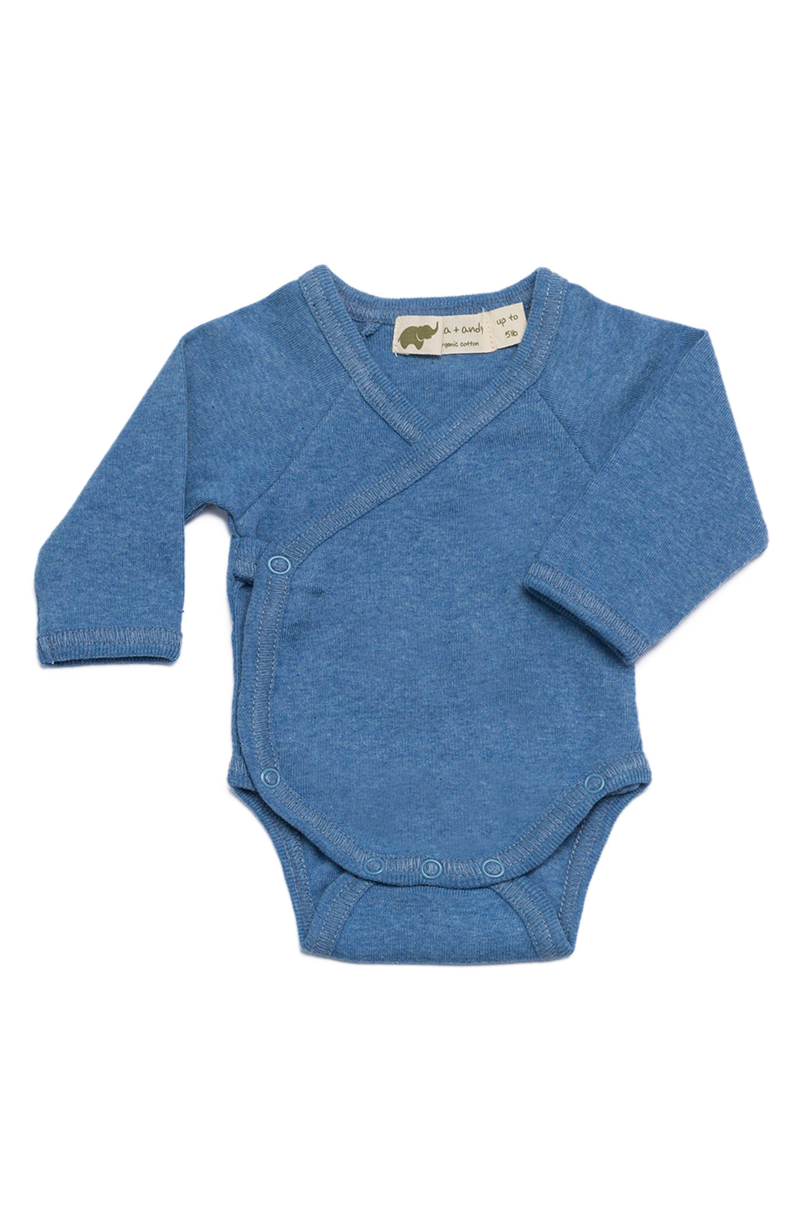 Lucky Organic Cotton Bodysuit,                         Main,                         color, Light Blue Heather
