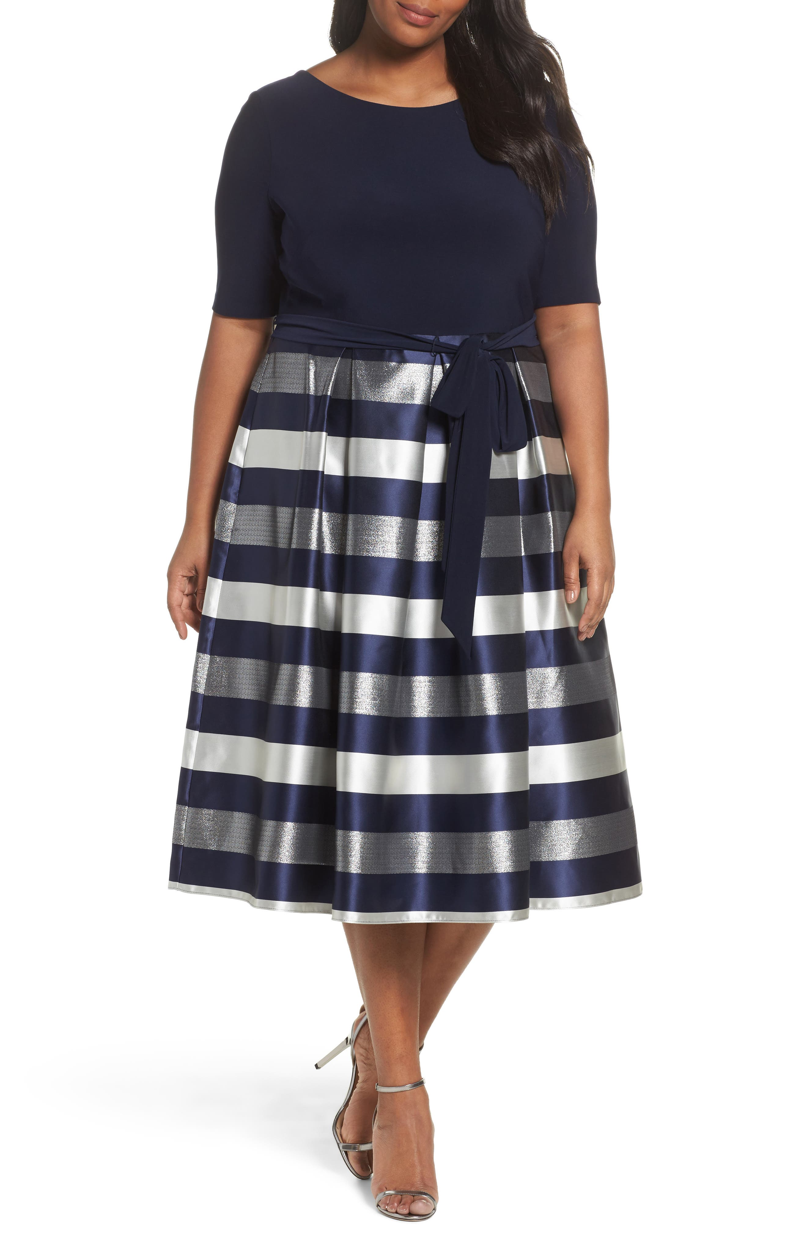 Mixed Media Fit & Flare Dress,                         Main,                         color, Navy/ Silver
