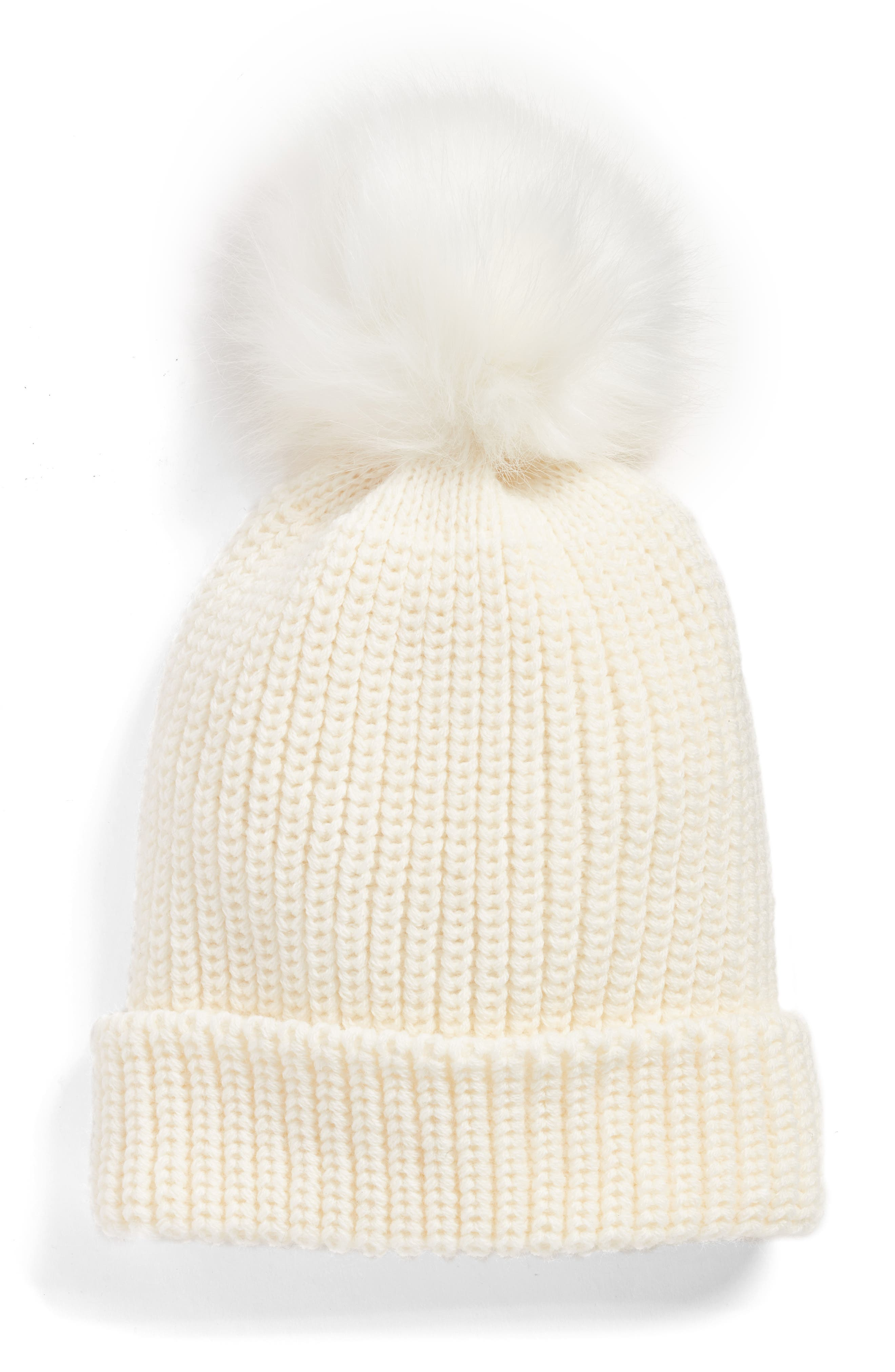 Chunky Stitch Beanie with Faux Fur Pom,                         Main,                         color, Ivory Eggnog