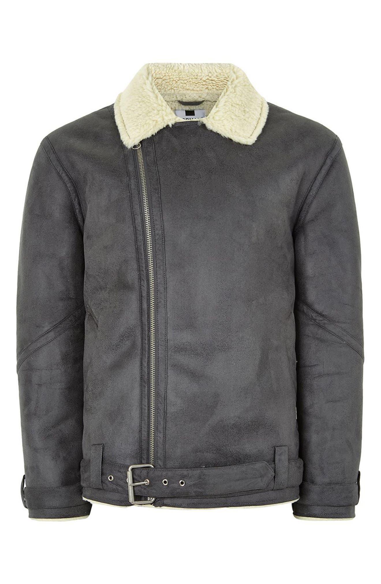 Borg Collar Faux Shearling Jacket,                             Alternate thumbnail 4, color,                             Grey