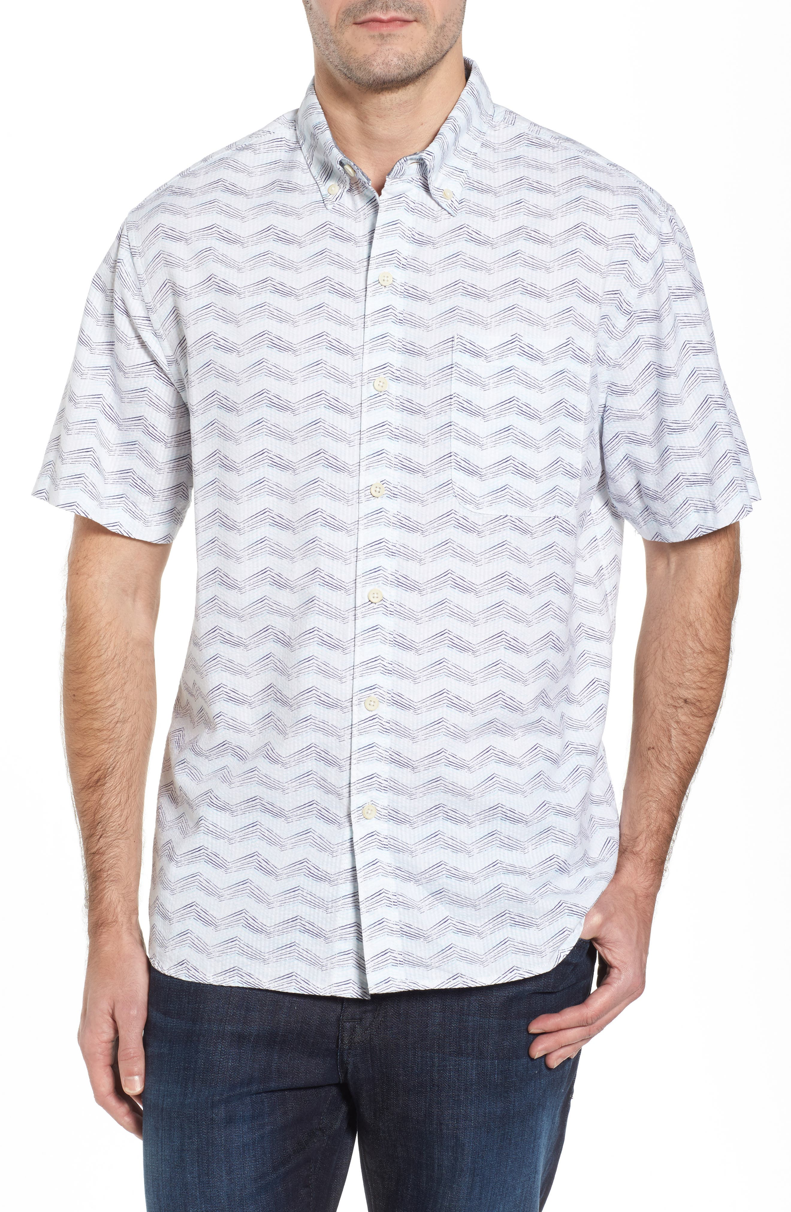 Alternate Image 1 Selected - Tommy Bahama Chevron Shores Print Sport Shirt