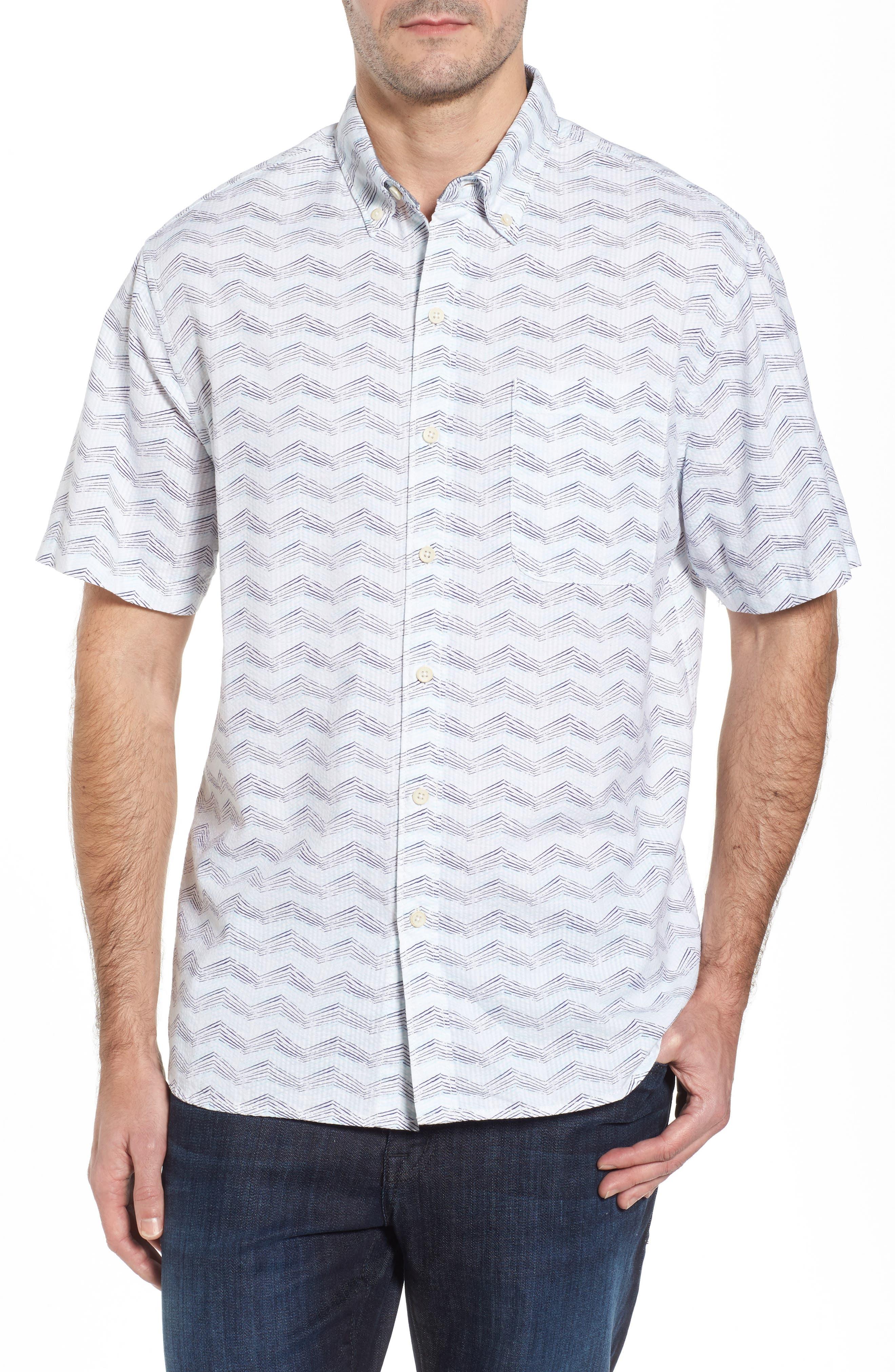 Chevron Shores Print Sport Shirt,                         Main,                         color, Kingdom Blue
