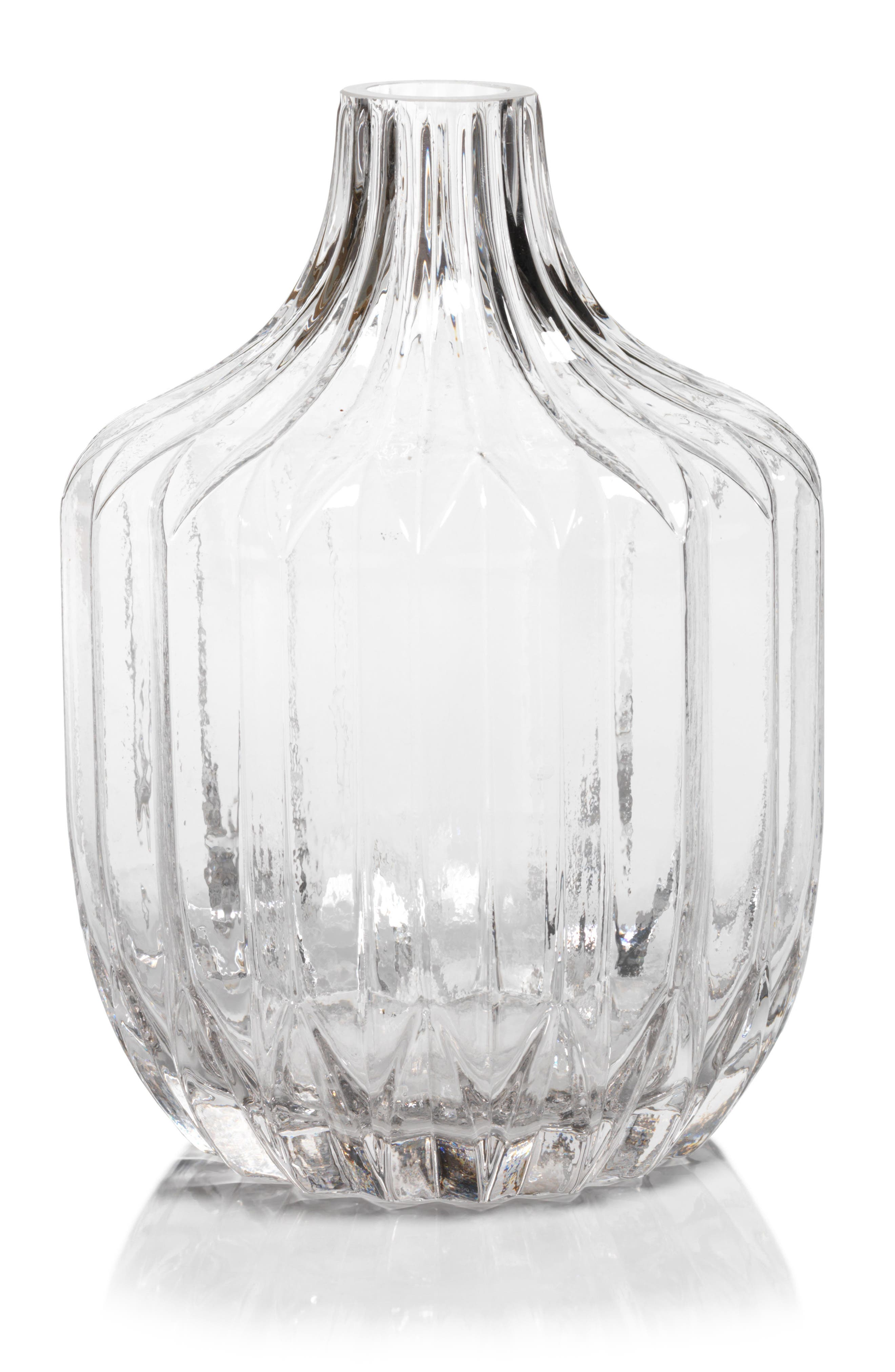 Astrud Ribbed Glass Vase,                         Main,                         color, Clear