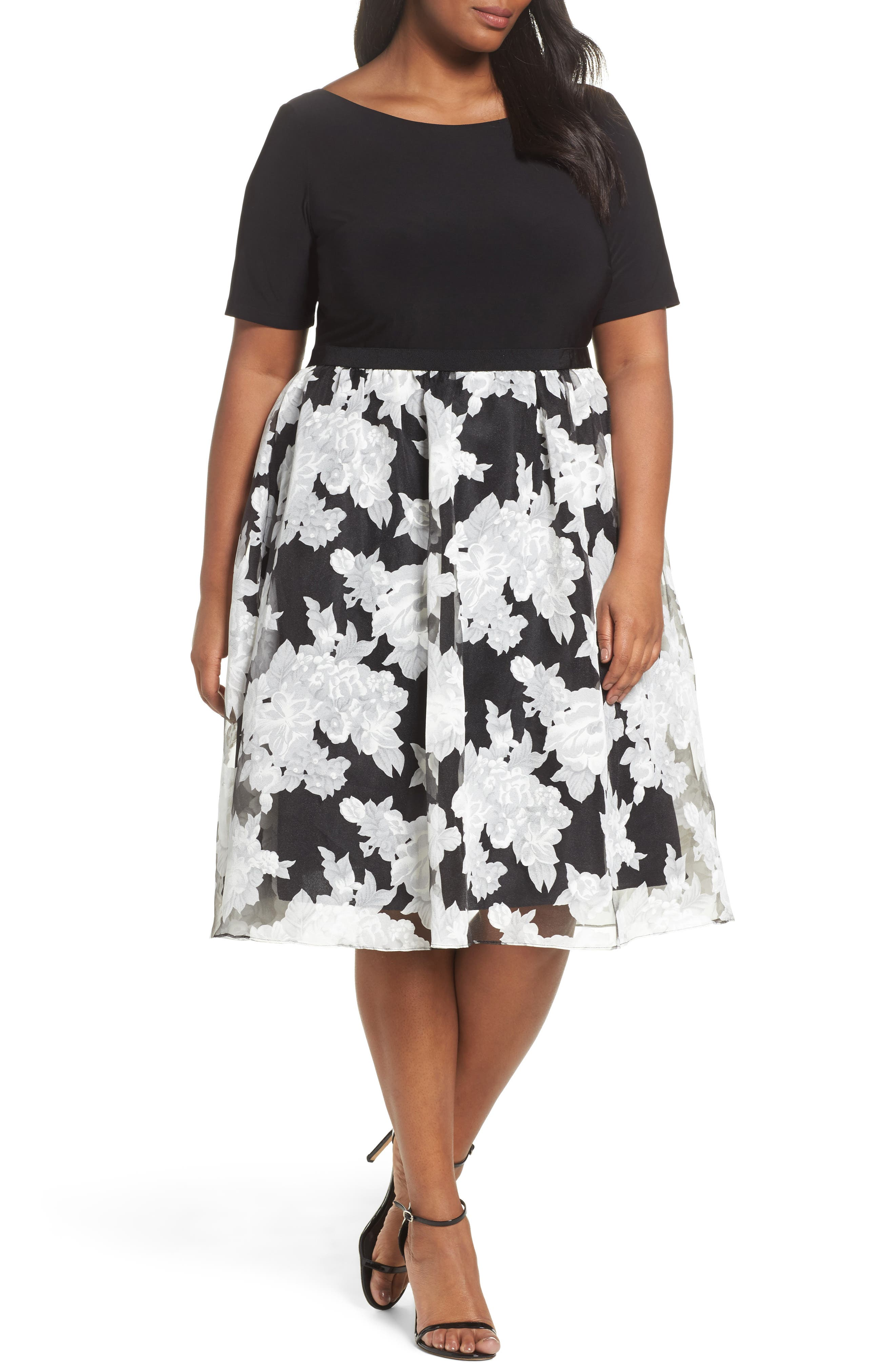 Adrianna Papell Print Organza Fit & Flare Dress (Plus Size)