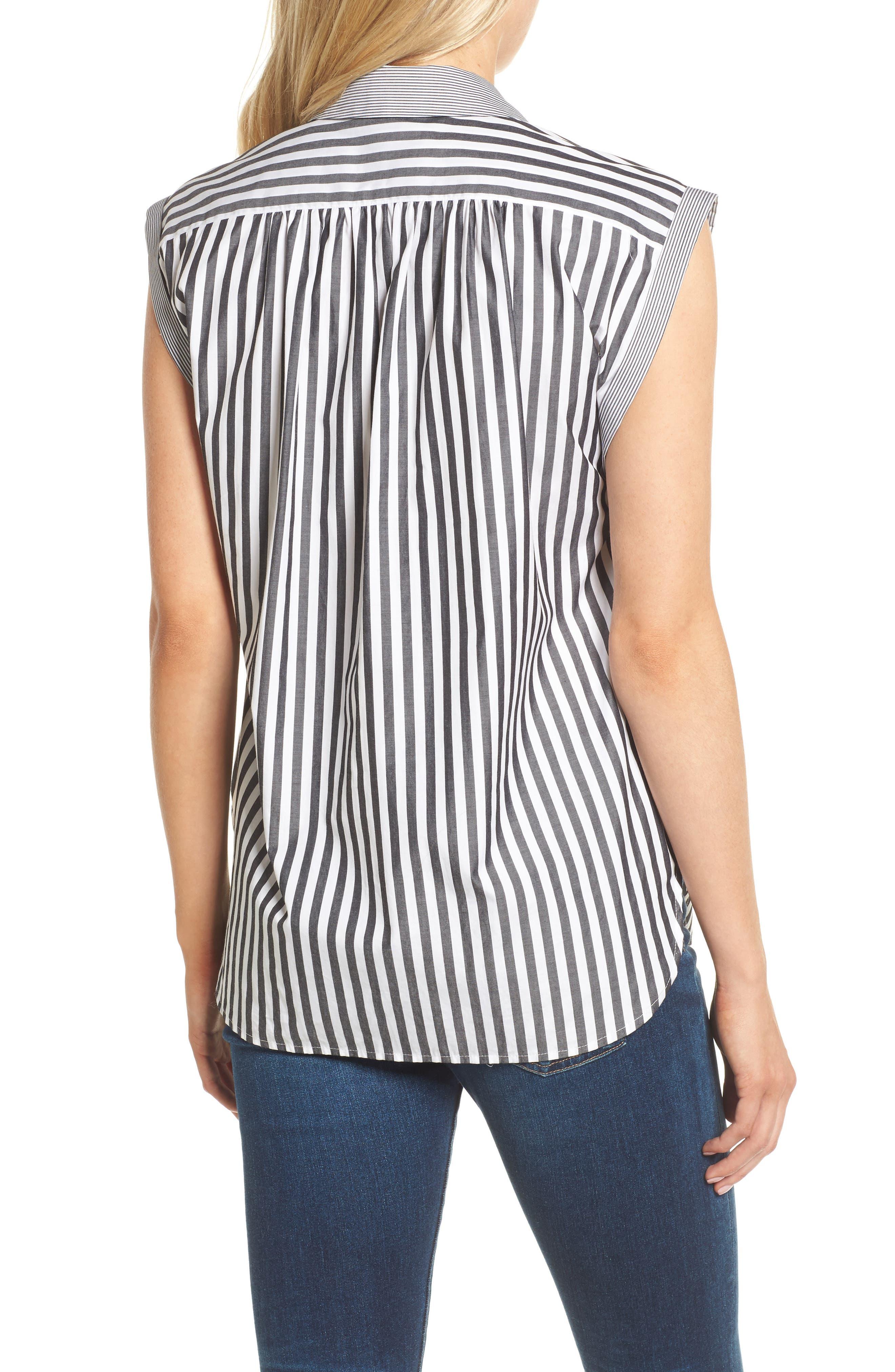 Abigail Stripe Top,                             Alternate thumbnail 2, color,                             Black/ White