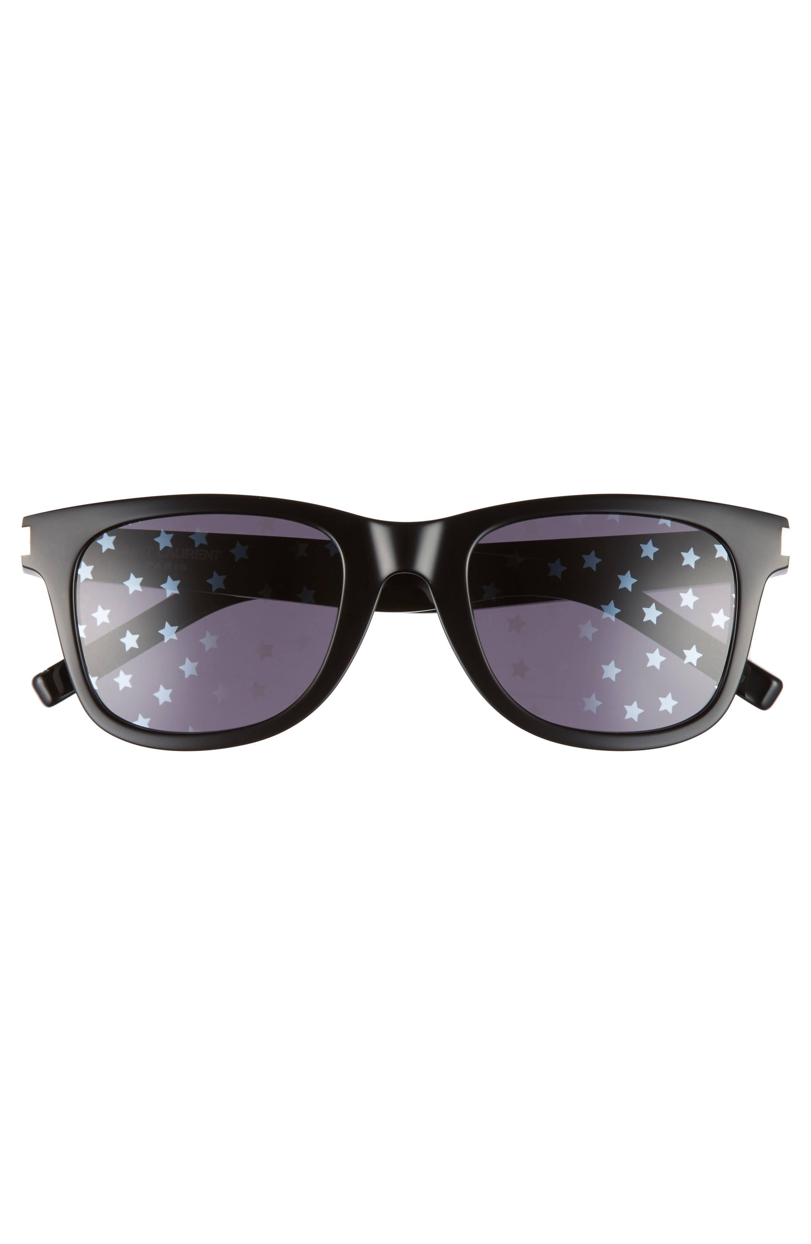 SL51 50mm Sunglasses,                             Alternate thumbnail 3, color,                             Black/ Black