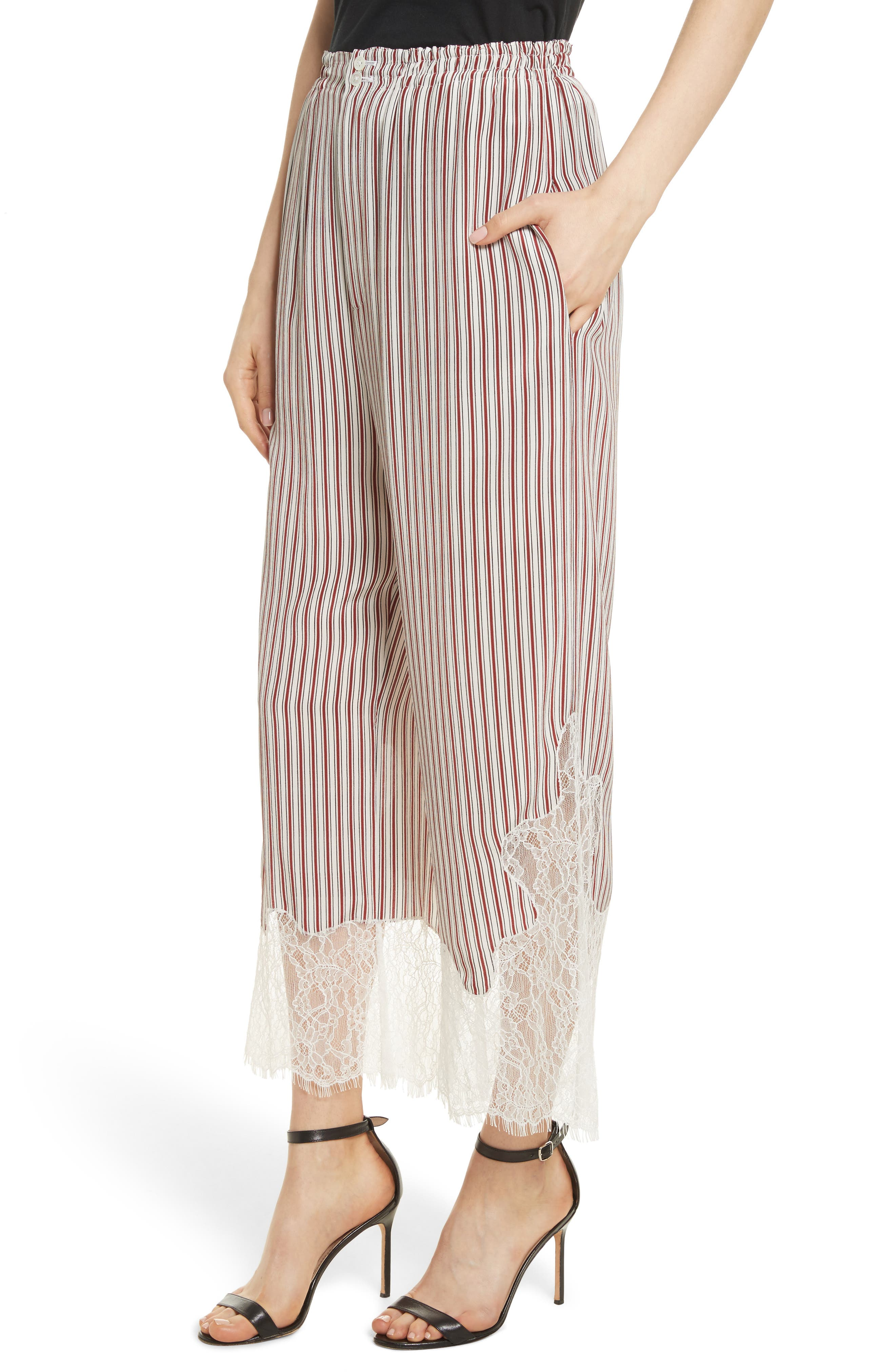 Lace Hem Stripe Pants,                             Alternate thumbnail 4, color,                             Crimson Barcode