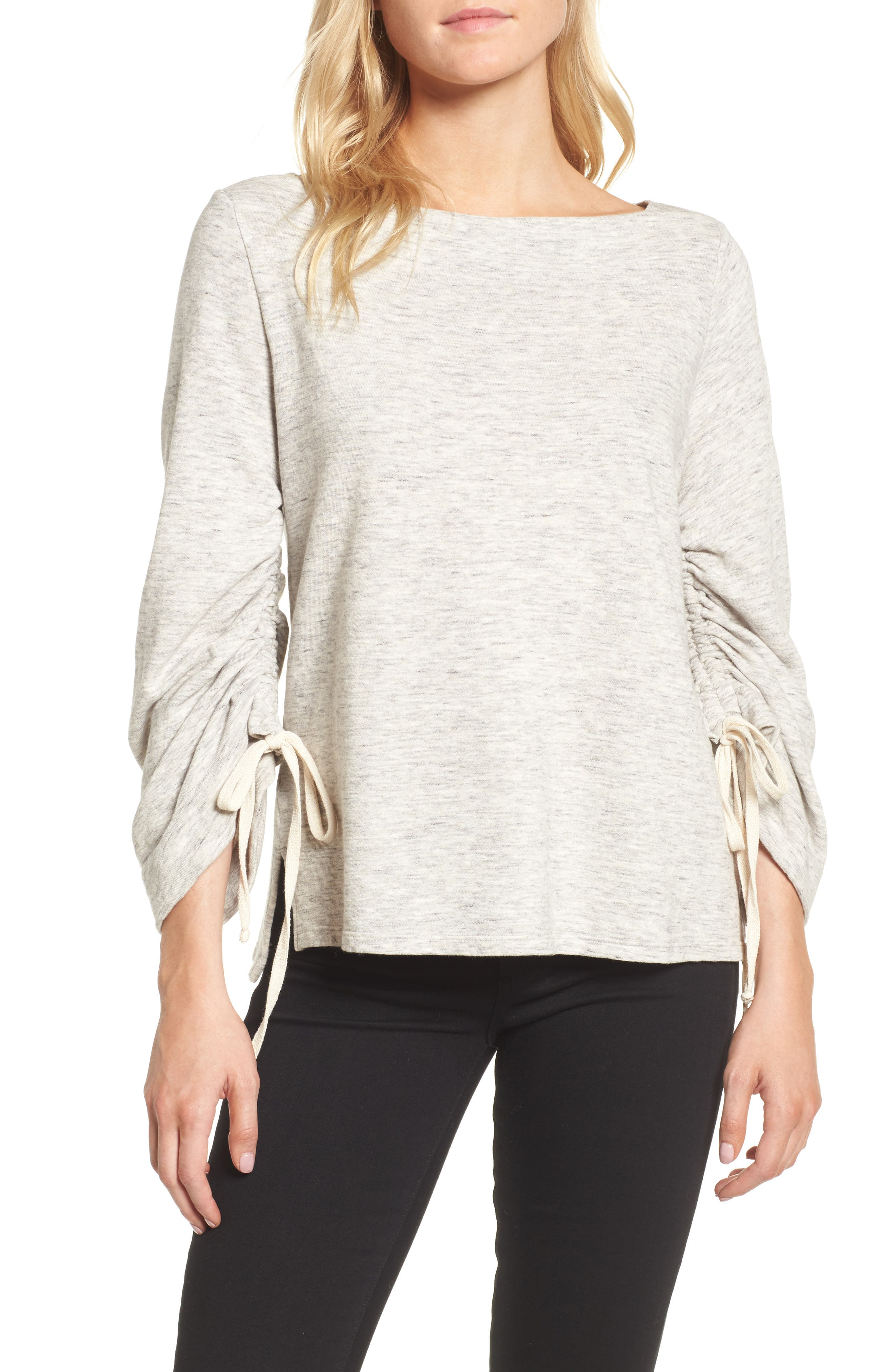 Ruched Sleeve Sweatshirt,                             Main thumbnail 1, color,                             Heather Grey