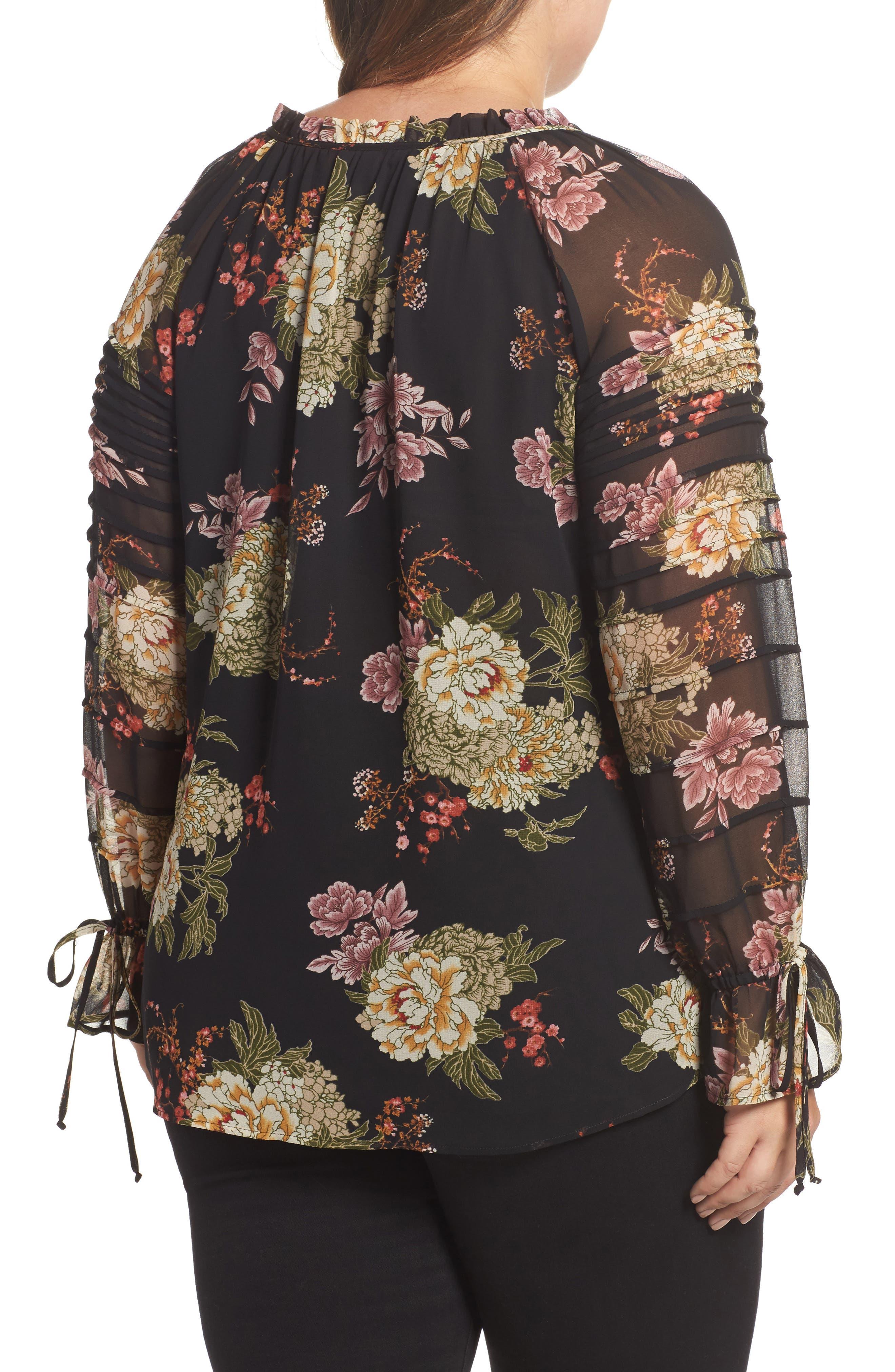 Alternate Image 2  - Daniel Rainn Floral Georgette Split Neck Blouse (Plus Size)