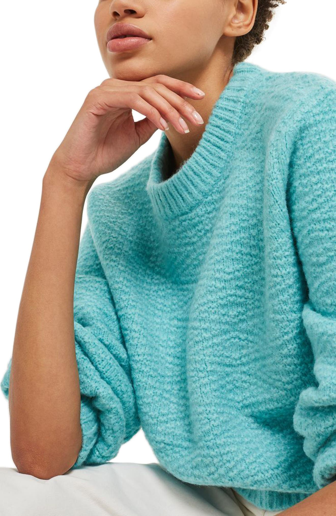 Textured Balloon Sleeve Sweater,                             Alternate thumbnail 3, color,                             Turquoise