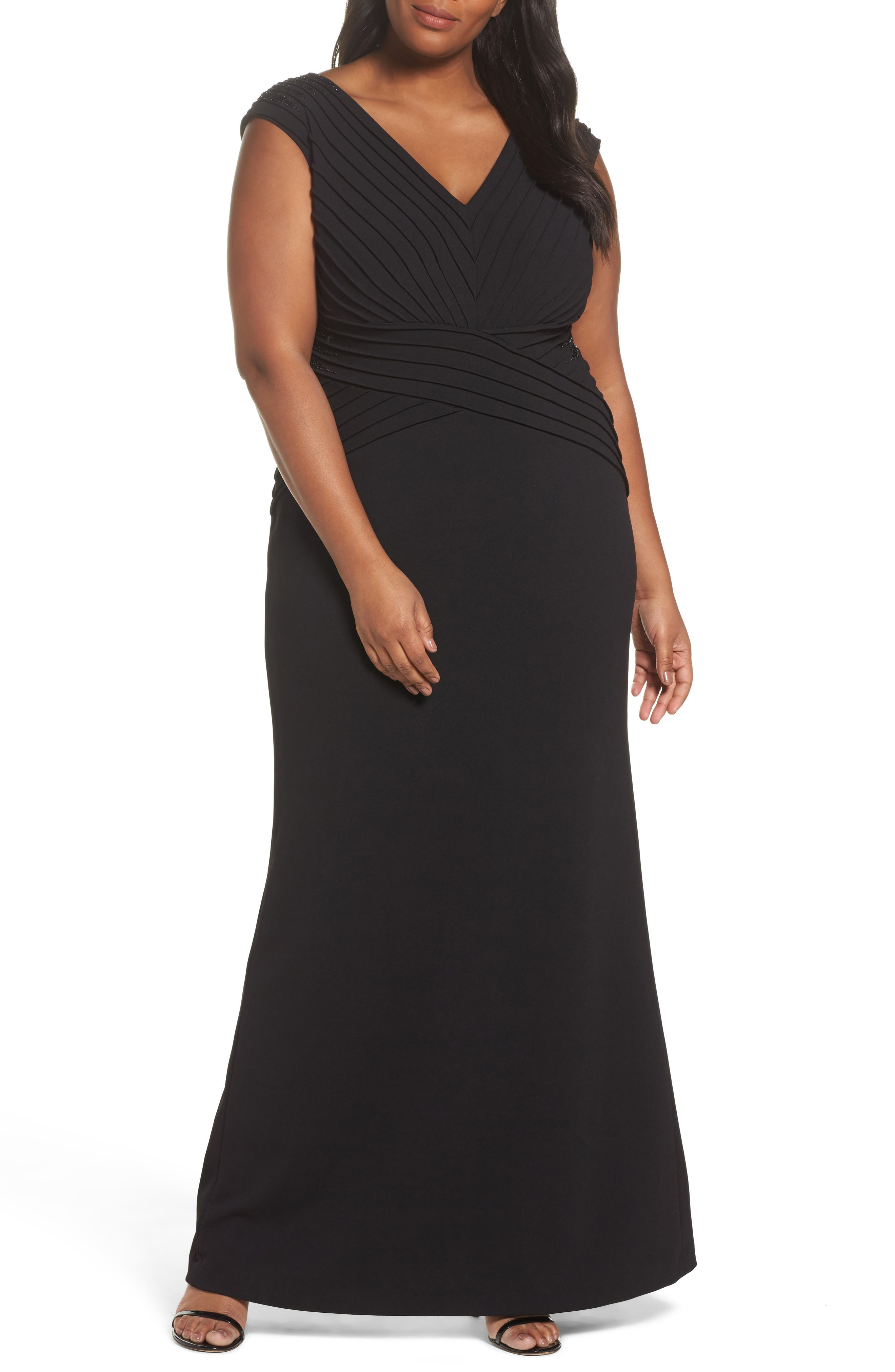 Embellsihed Pintucked A-Line Gown,                         Main,                         color, Black