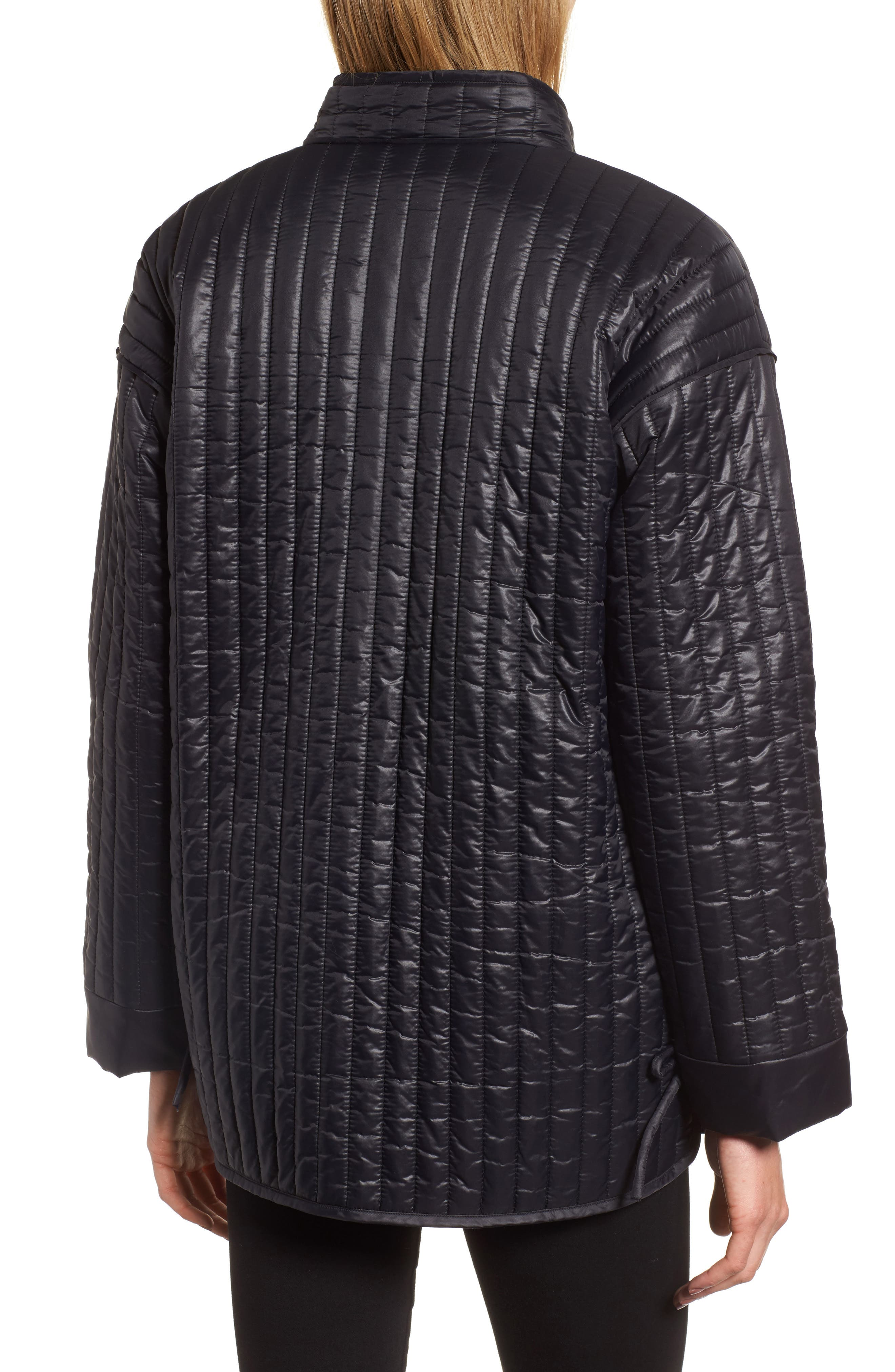 Side Tie Quilted Jacket,                             Alternate thumbnail 2, color,                             Black