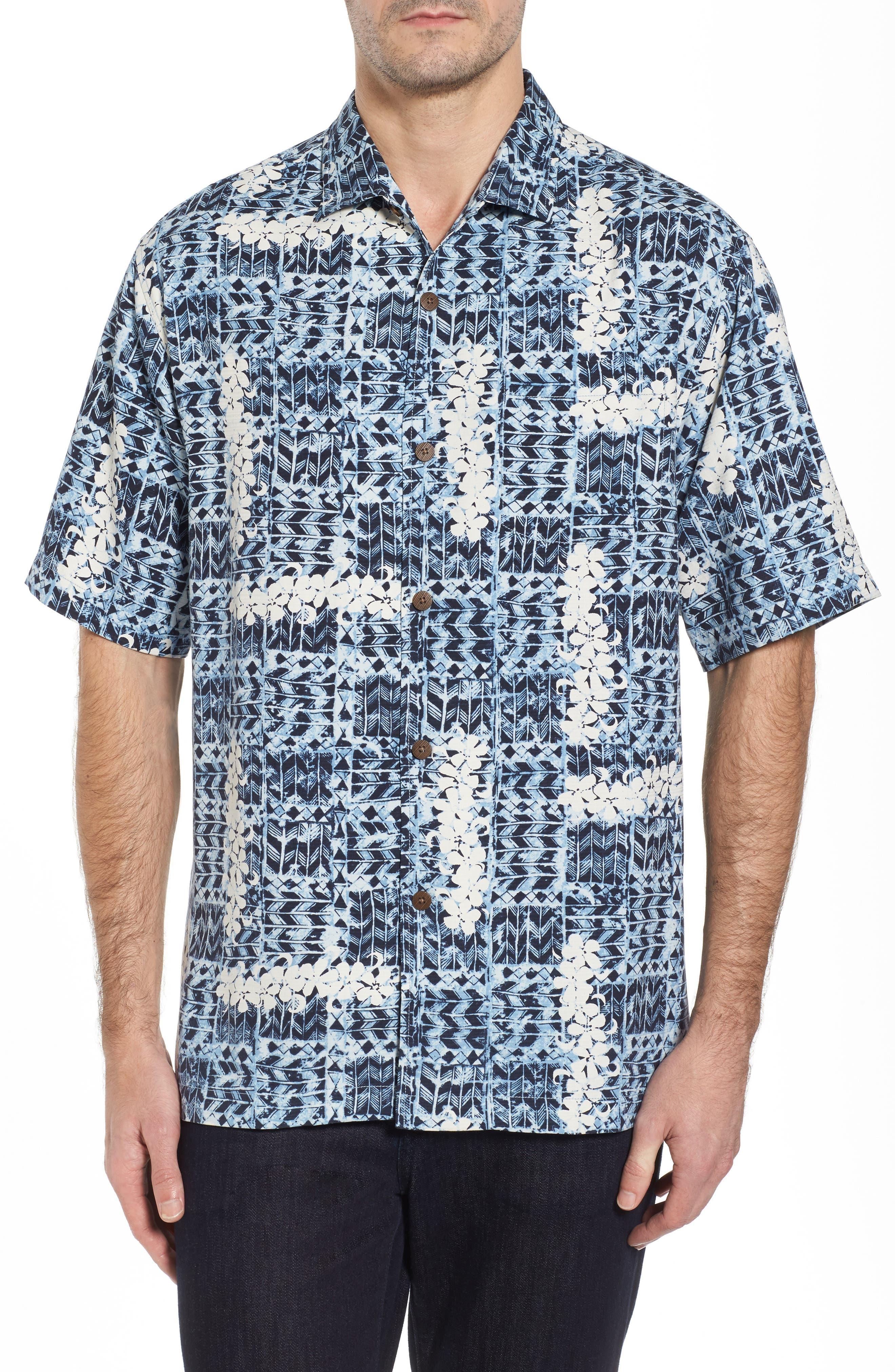 Olei Olei Silk Camp Shirt,                         Main,                         color, Bering Blue