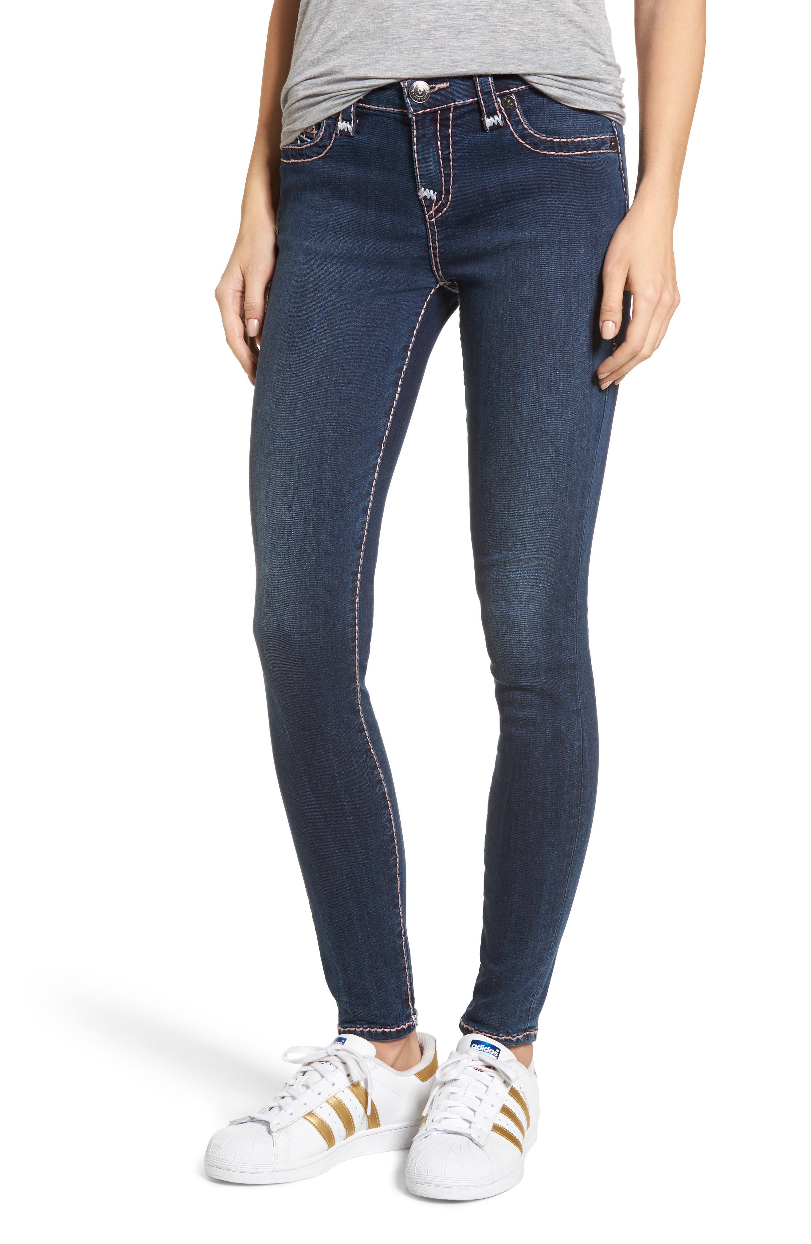 Halle Super Skinny Jeans,                             Main thumbnail 1, color,                             Deep Sea Blue