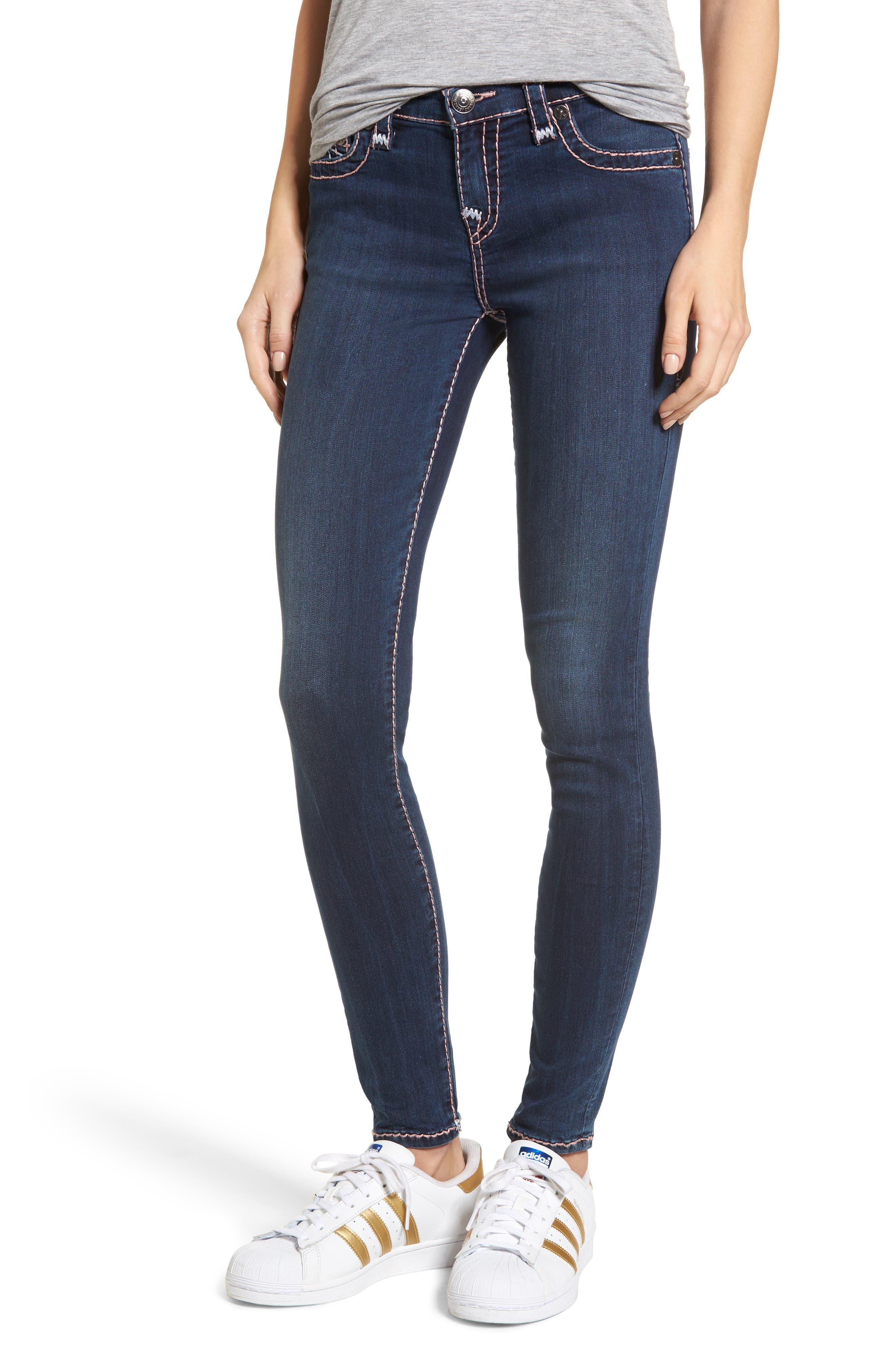 Halle Super Skinny Jeans,                         Main,                         color, Deep Sea Blue