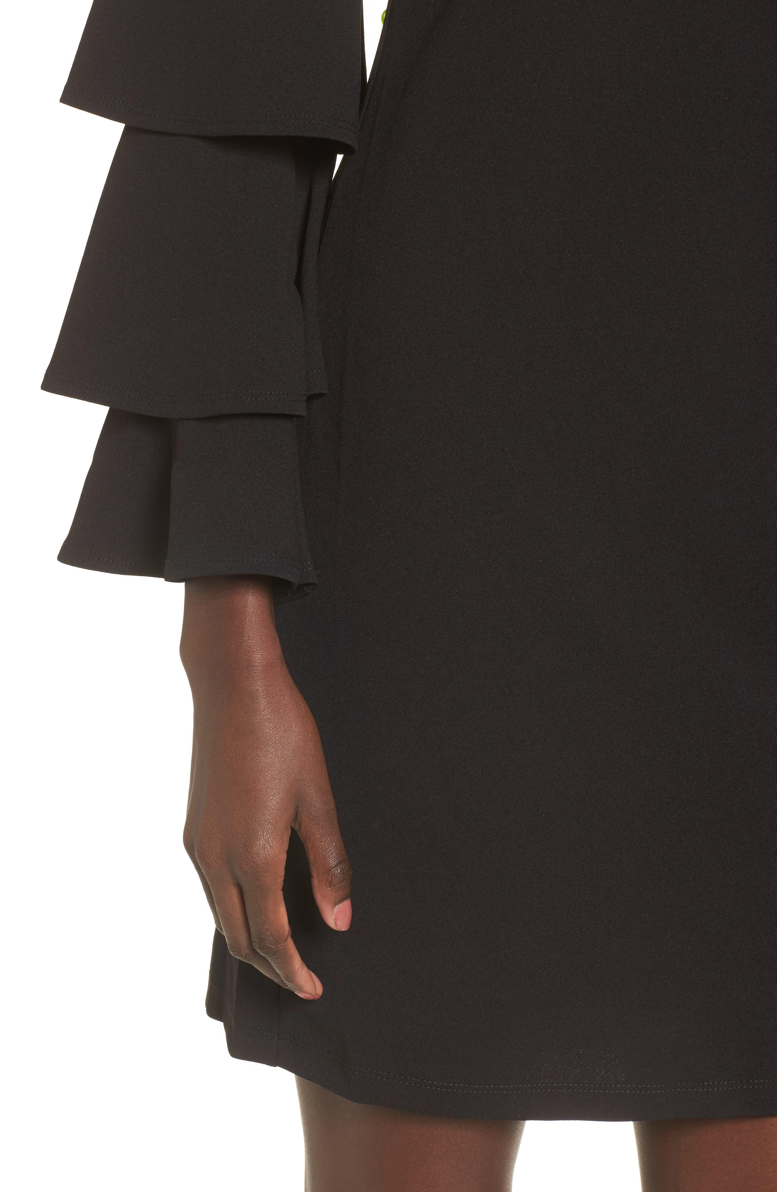Ruffle Sleeve Off the Shoulder Dress,                             Alternate thumbnail 4, color,                             Black