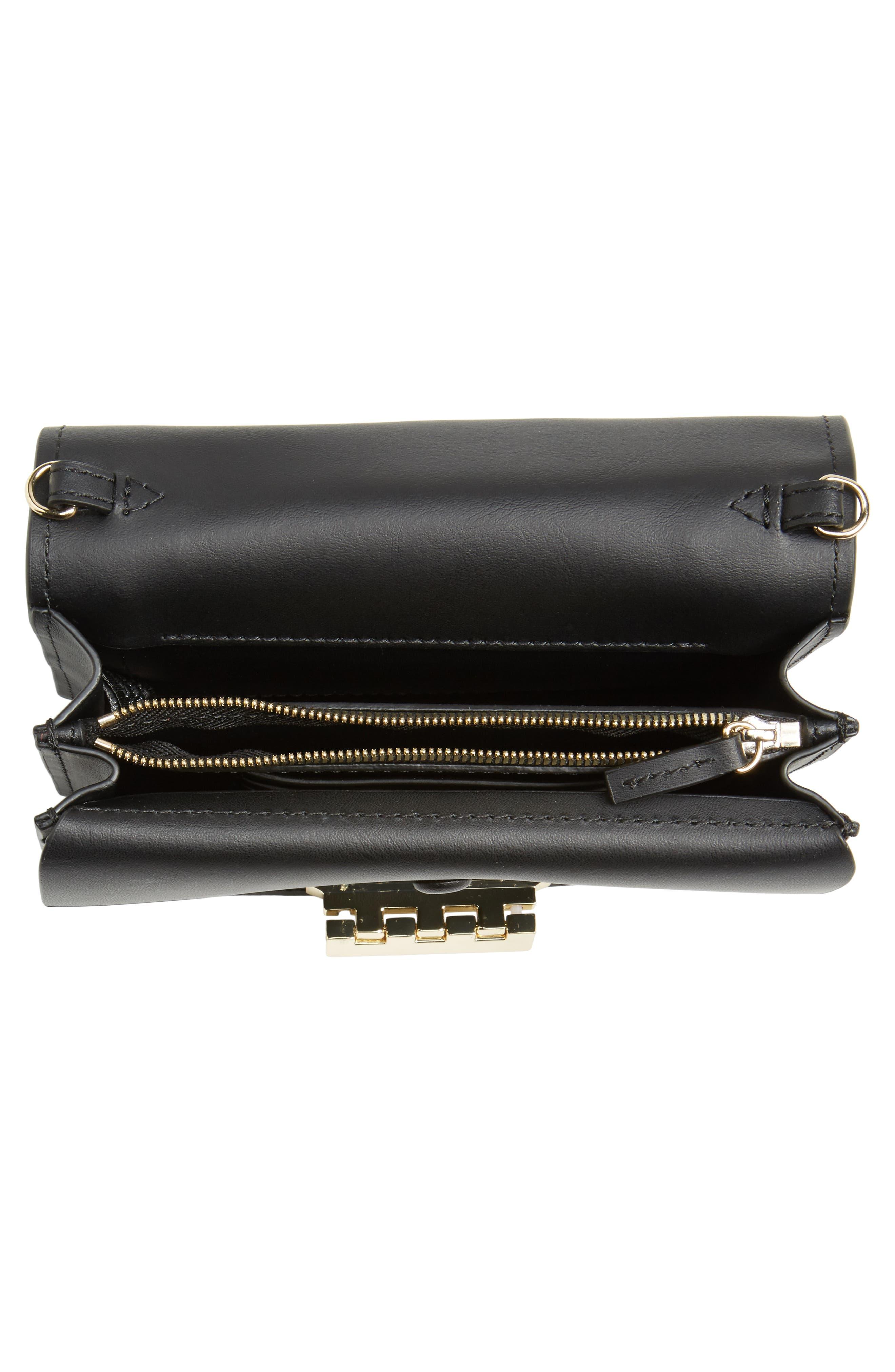 ZAC Zac Posen Earthette Leather Accordion Bag,                             Alternate thumbnail 4, color,                             Black