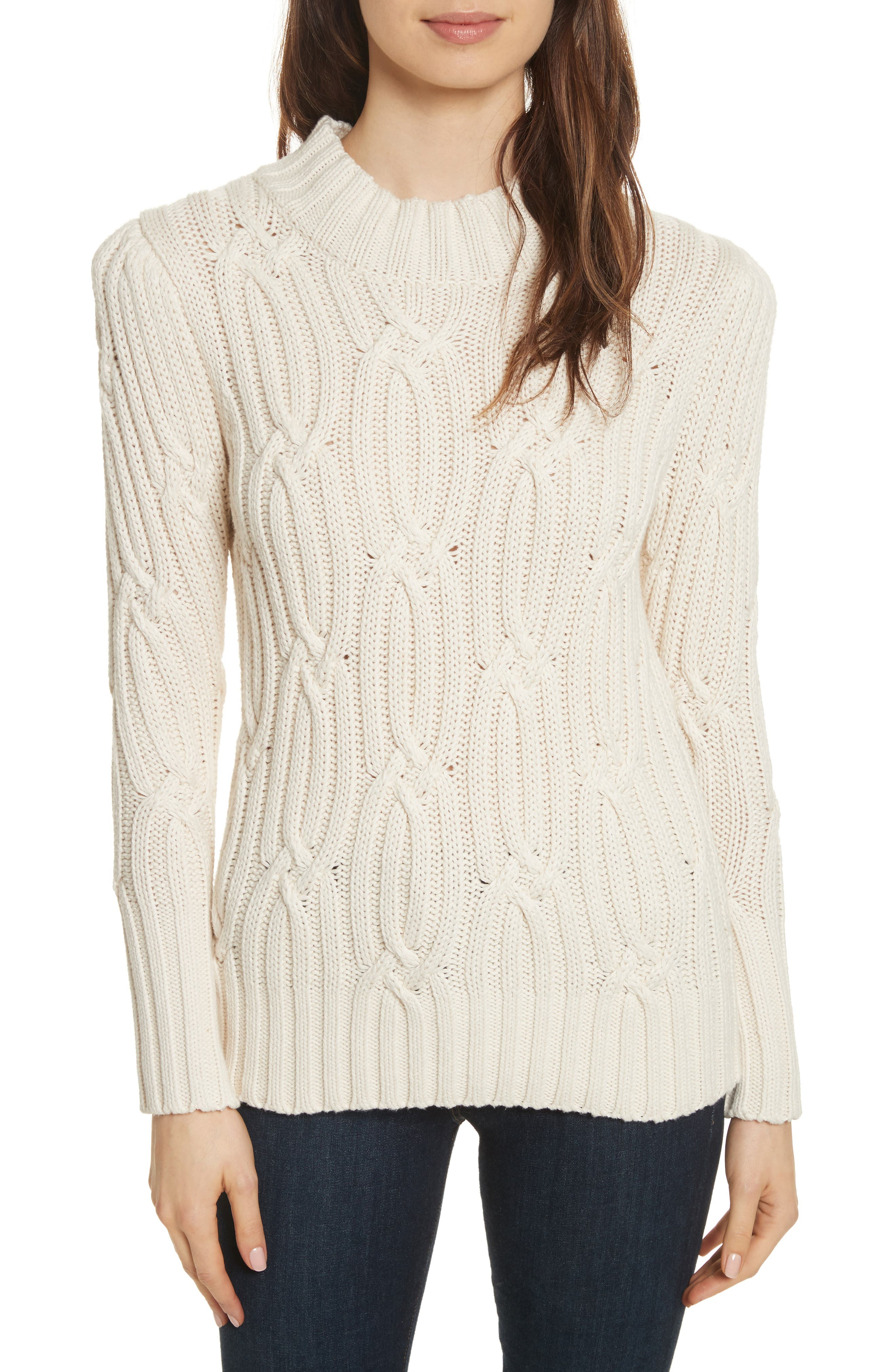 Cable Knit Sweater,                         Main,                         color, Chalk