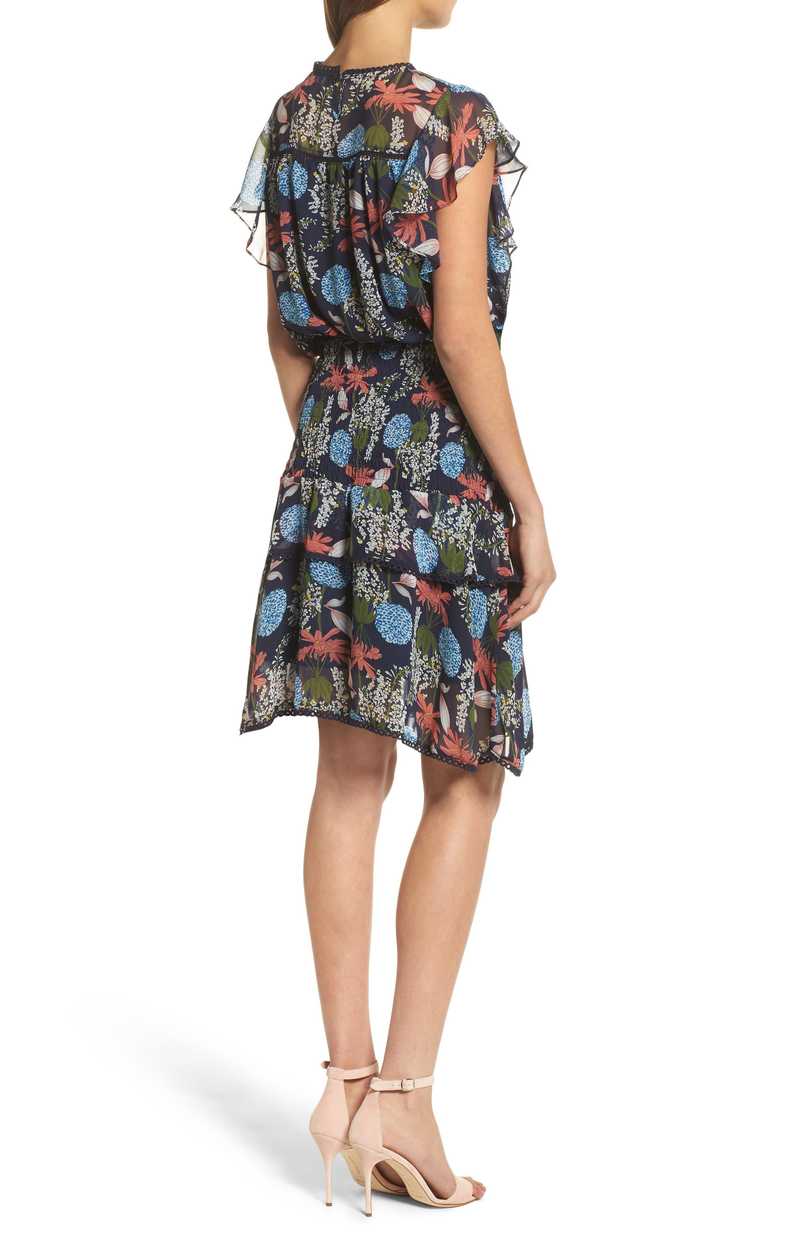 Tiered Blouson Dress,                             Alternate thumbnail 2, color,                             Navy Stella Floral