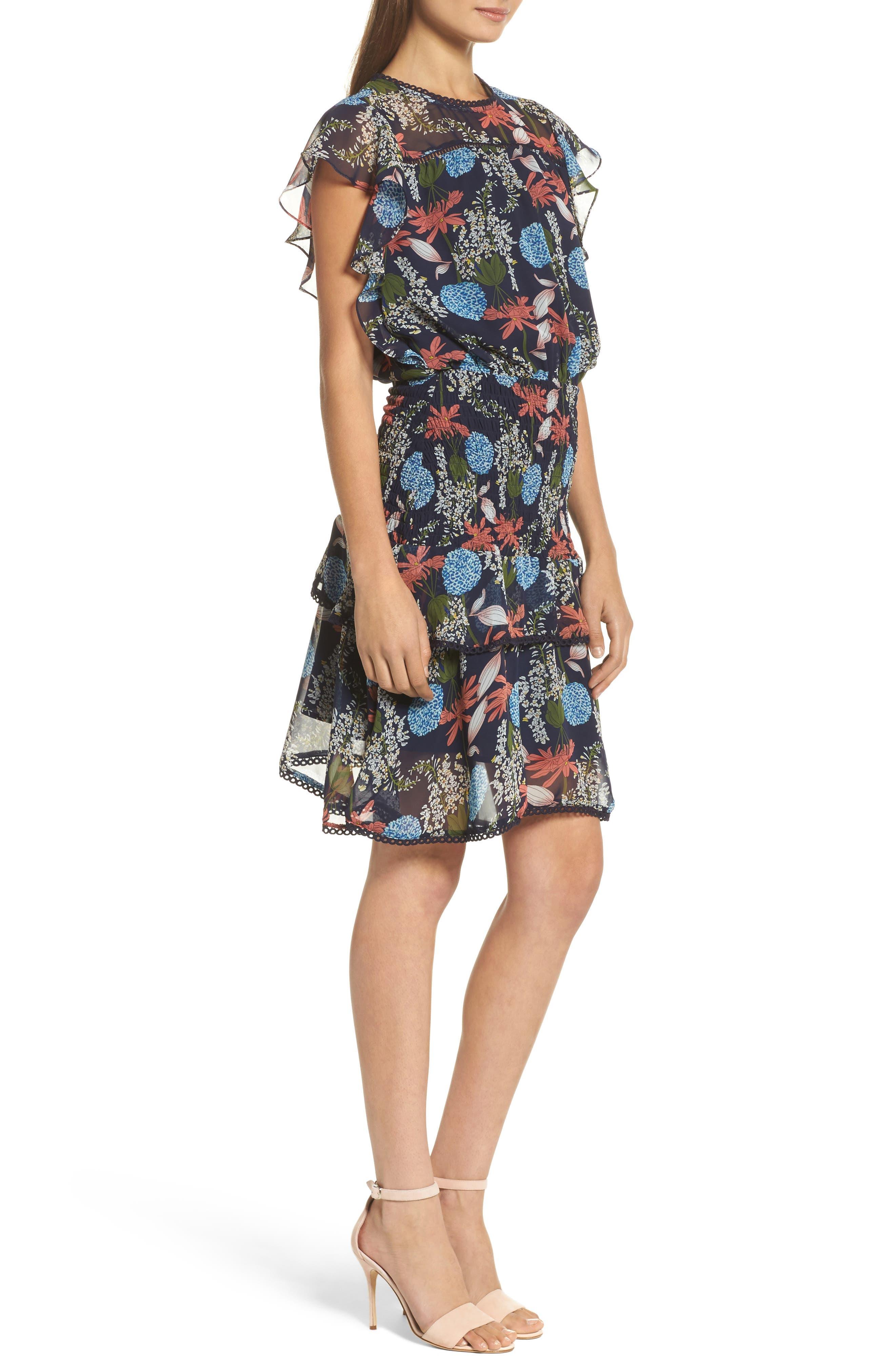 Tiered Blouson Dress,                             Alternate thumbnail 3, color,                             Navy Stella Floral