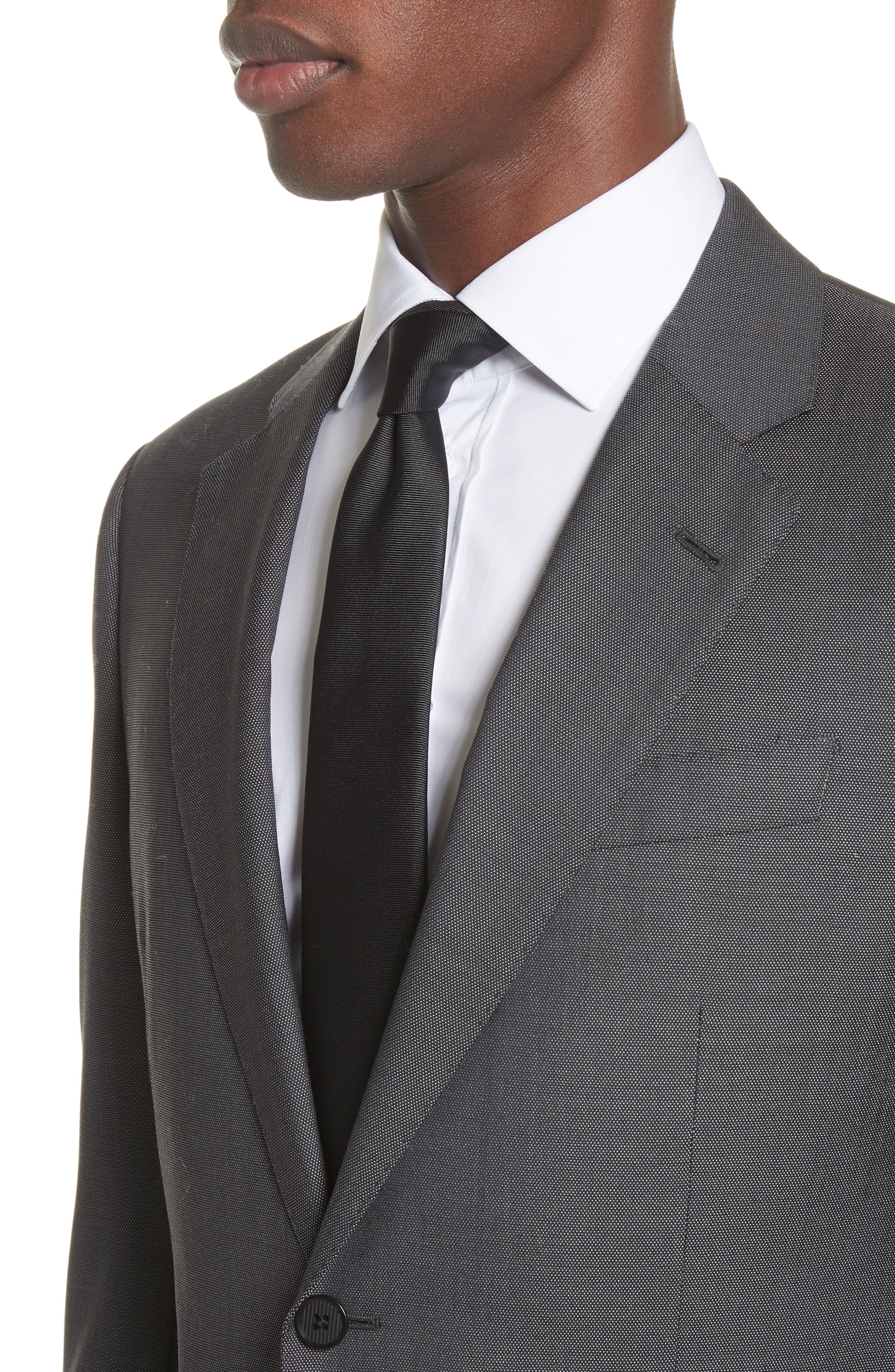 G Line Trim Fit Solid Wool & Silk Suit,                             Alternate thumbnail 4, color,                             Grey