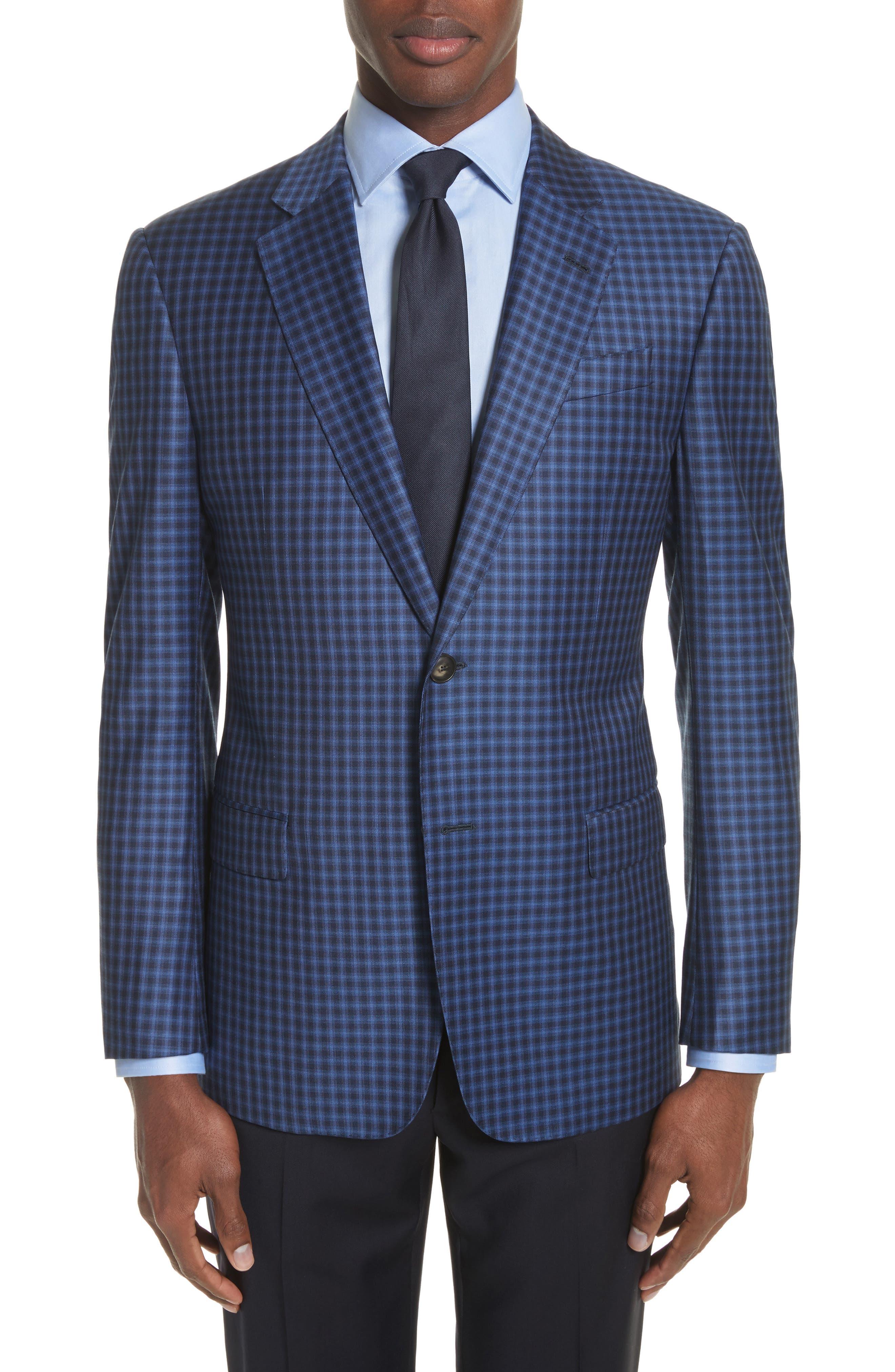 G Line Trim Fit Check Wool Sport Coat,                         Main,                         color, Navy