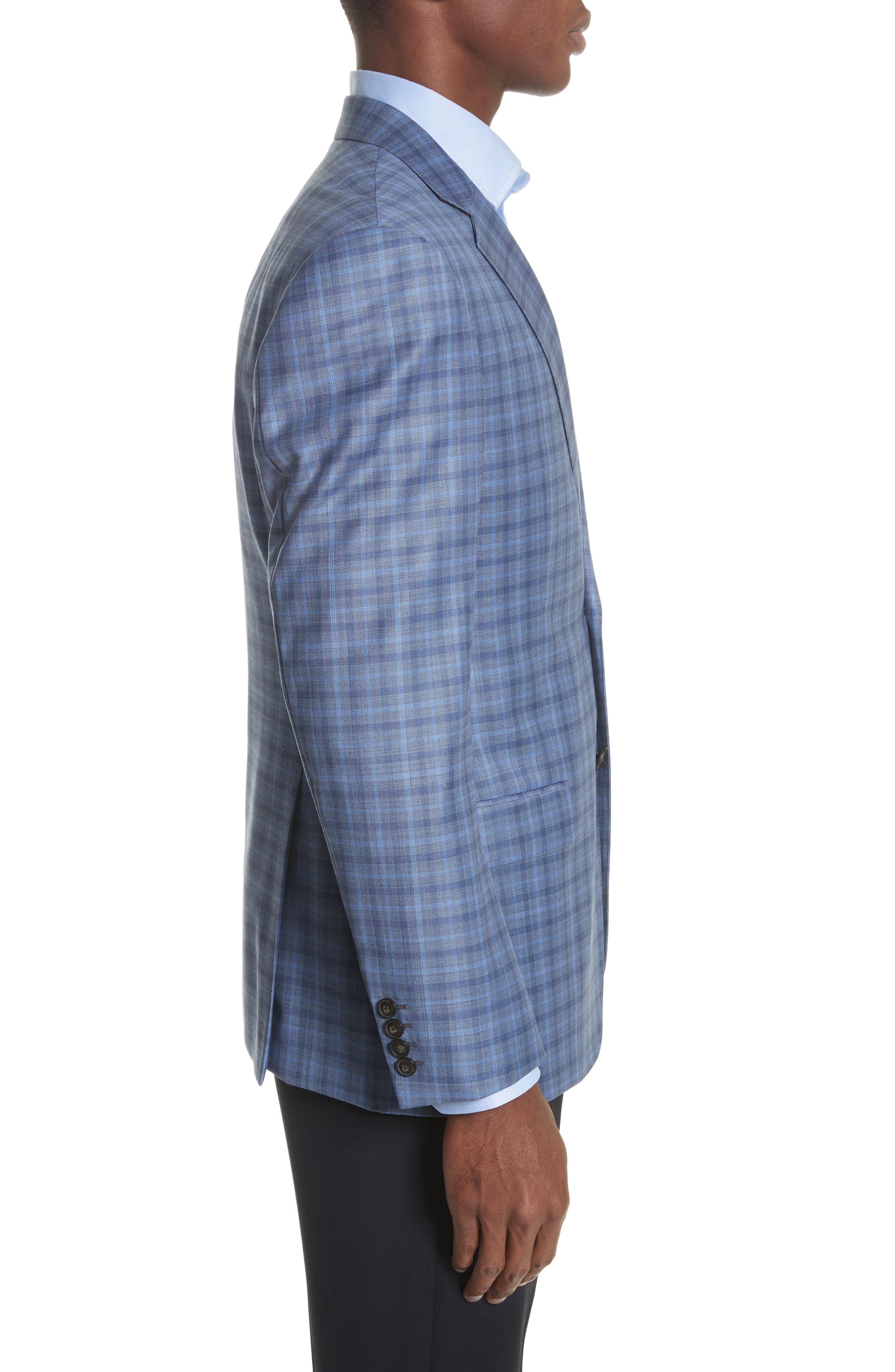 G Line Trim Fit Plaid Wool Sport Coat,                             Alternate thumbnail 3, color,                             Navy