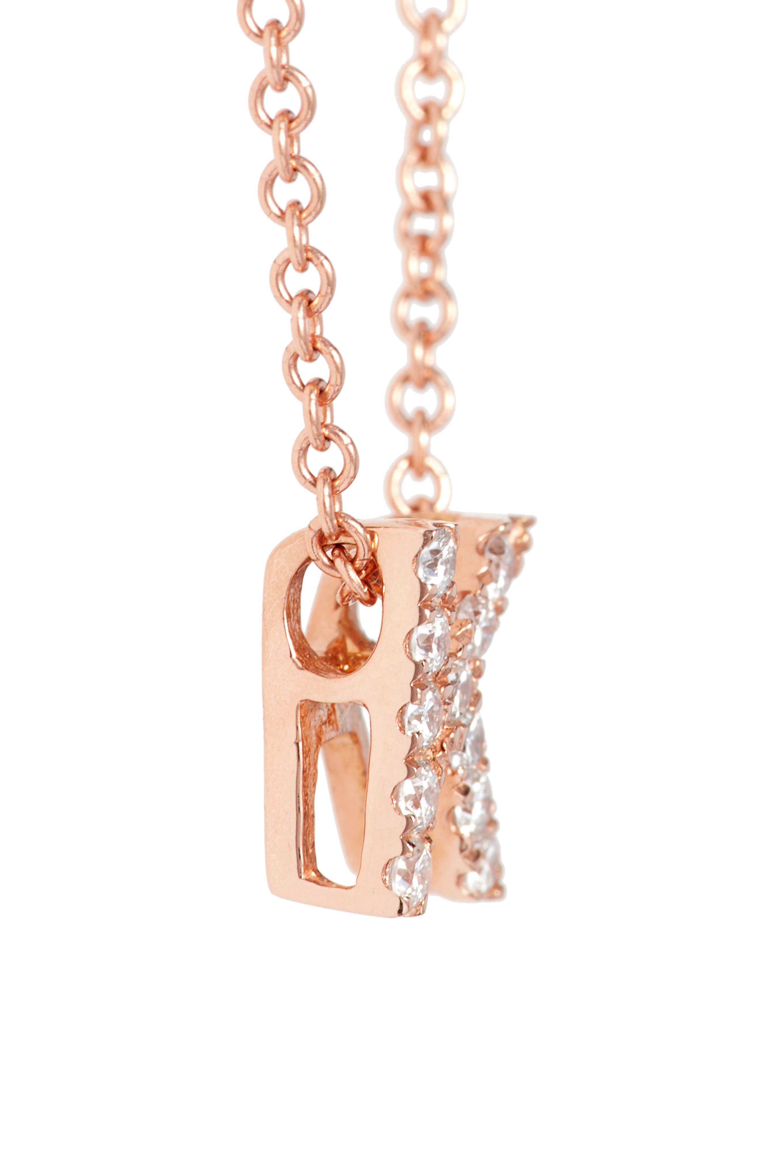 18k Gold Pavé Diamond Initial Pendant Necklace,                             Alternate thumbnail 3, color,                             Rose Gold - K