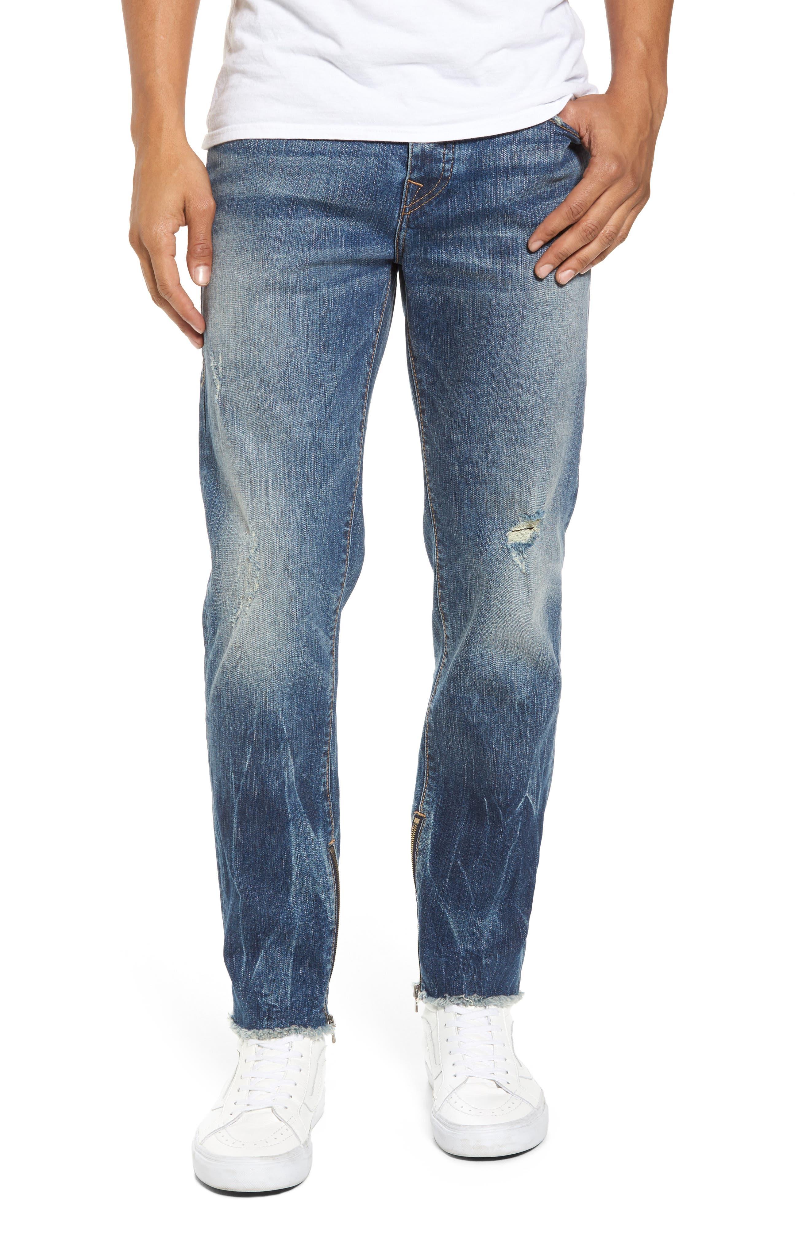 Main Image - True Religion Brand Jeans Finn Frayed Skinny Fit Jeans (Envy)