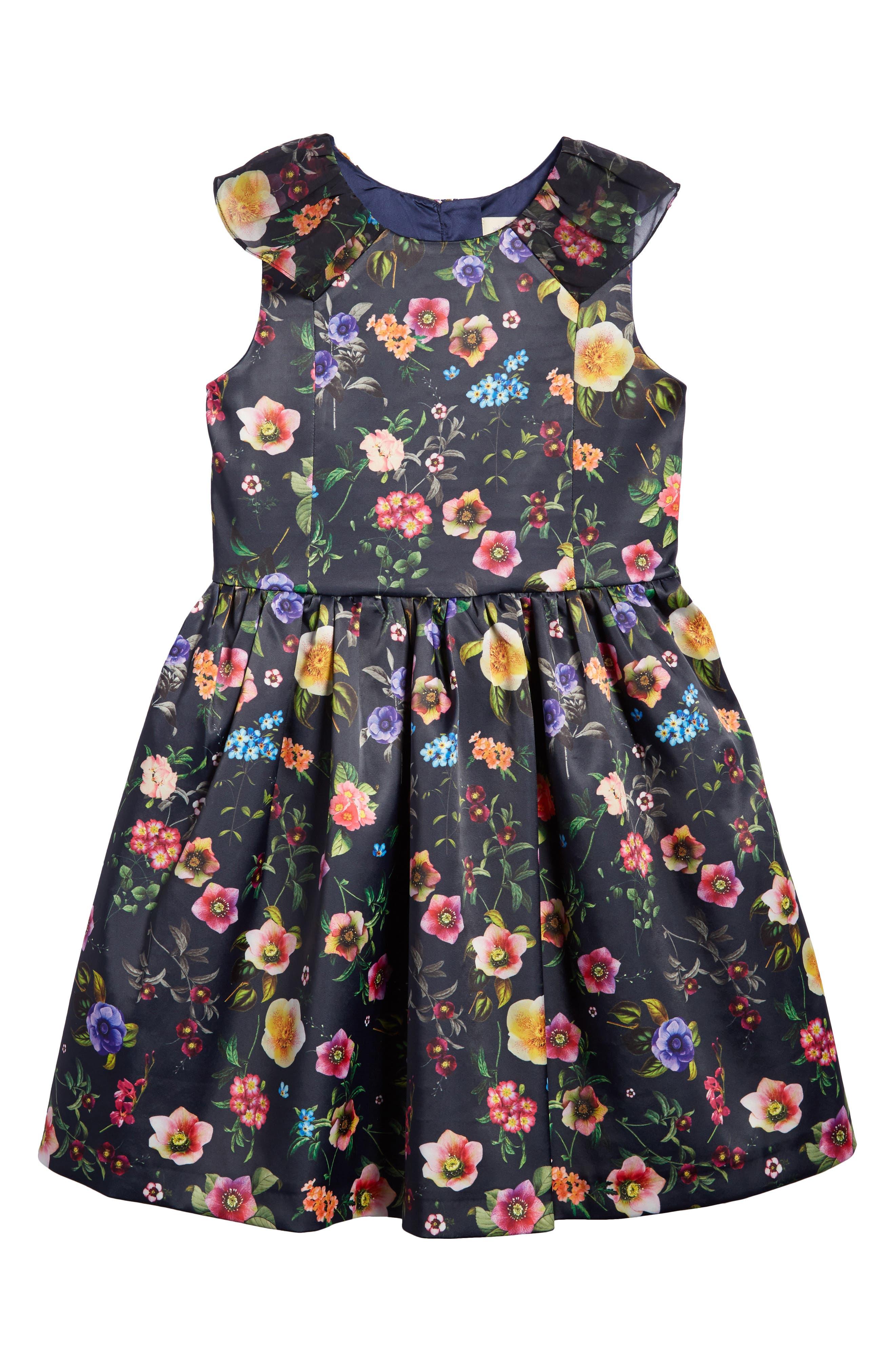 Oh My Wild Garden Floral Print Satin Dress (Little Girls & Big Girls)