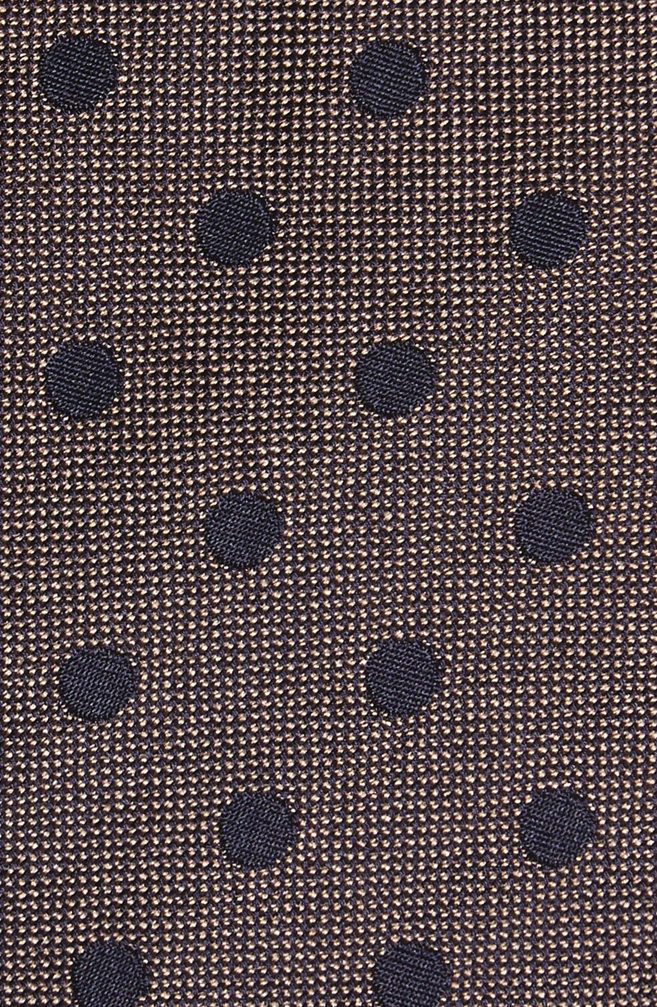 Dot Silk Tie,                             Alternate thumbnail 2, color,                             Taupe