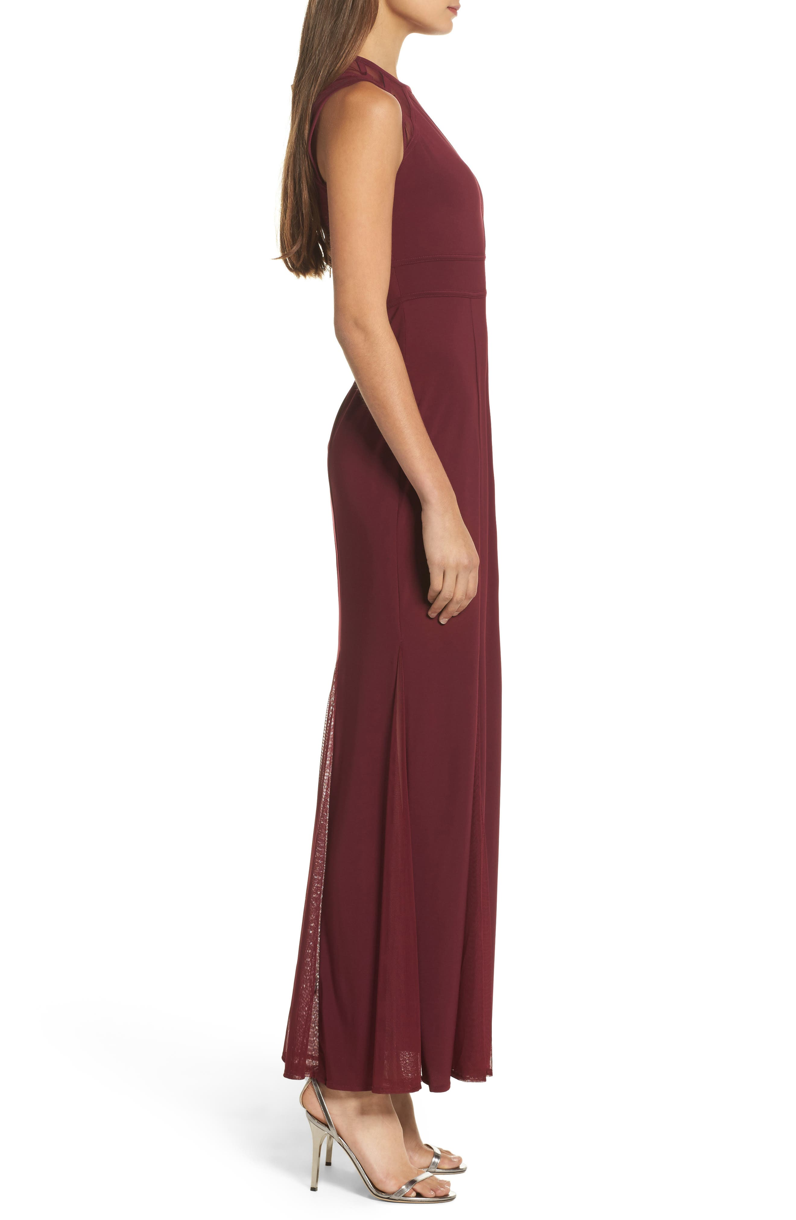 Alternate Image 3  - Morgan & Co. Mesh Inset Open Back Gown