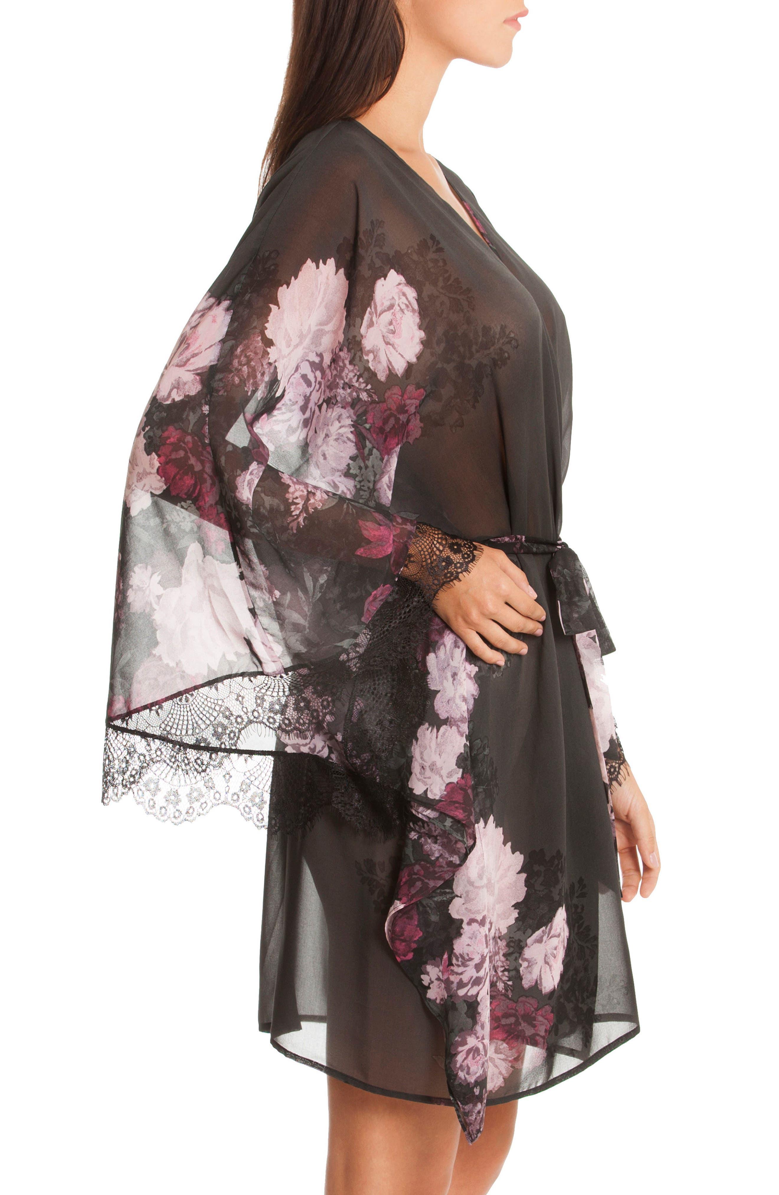 Flower Print Kimono Robe,                             Alternate thumbnail 3, color,                             Mystic Floral