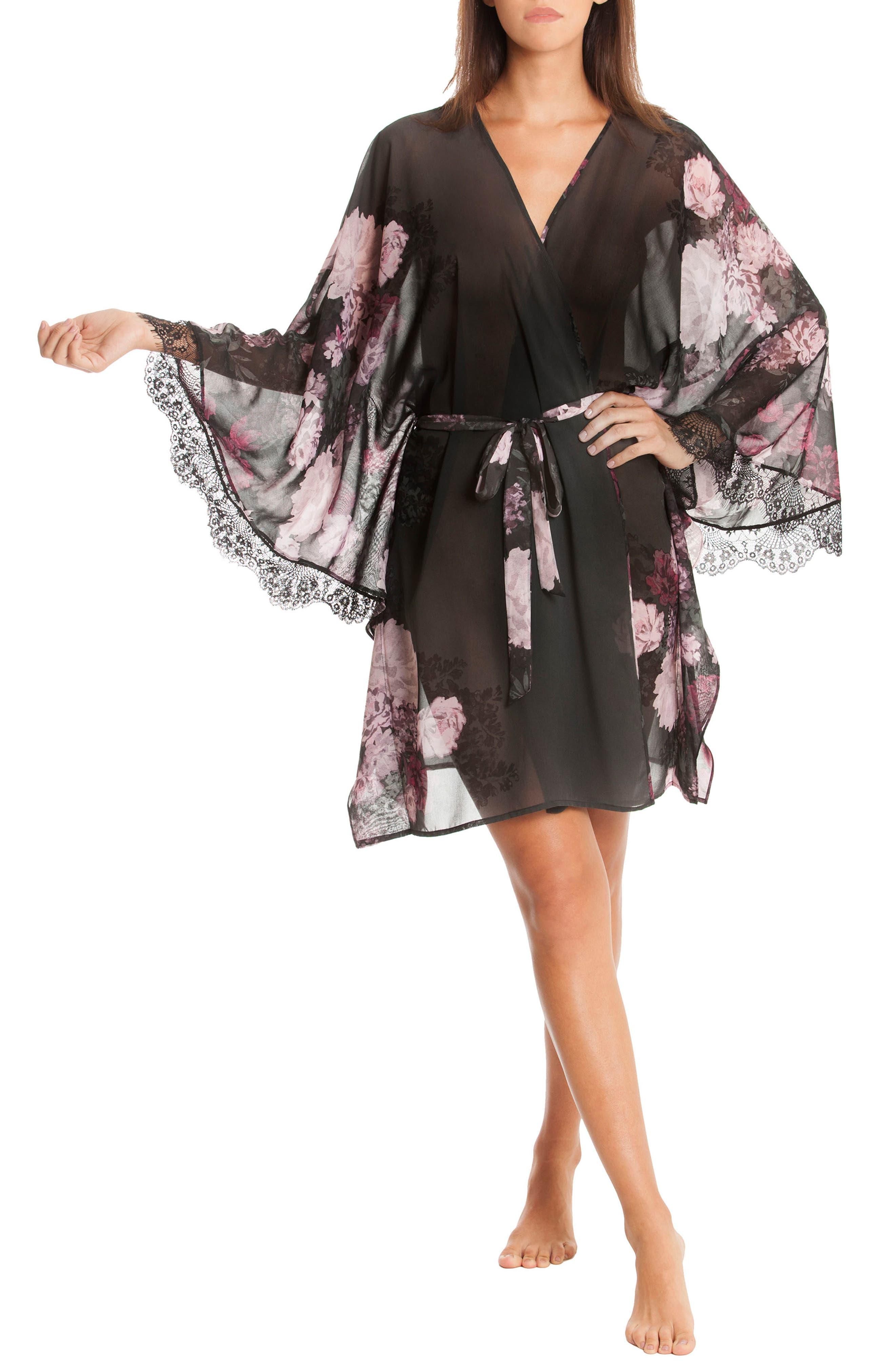 Flower Print Kimono Robe,                             Alternate thumbnail 4, color,                             Mystic Floral
