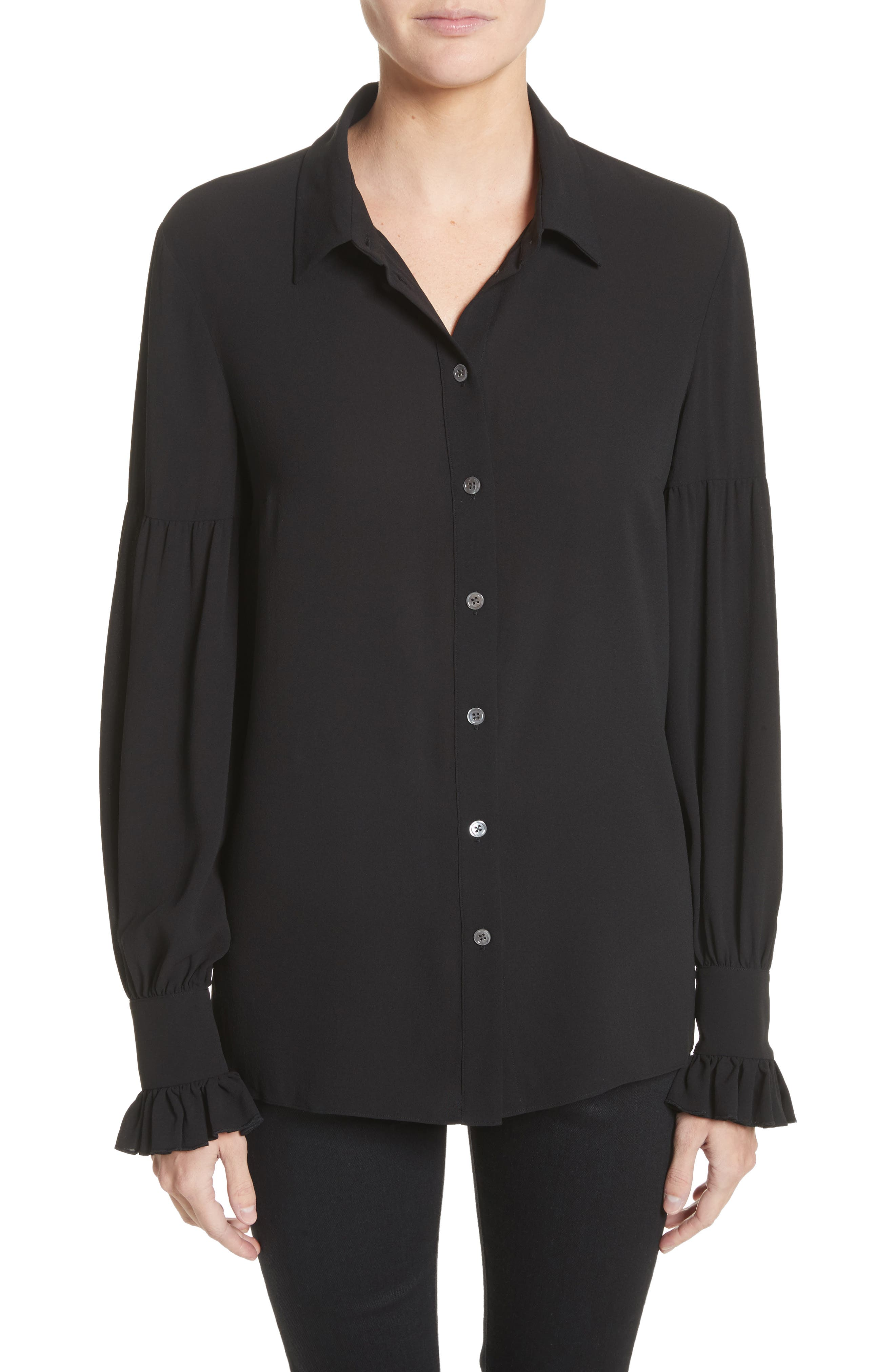 Gathered Sleeve Silk Georgette Blouse,                             Main thumbnail 1, color,                             Black