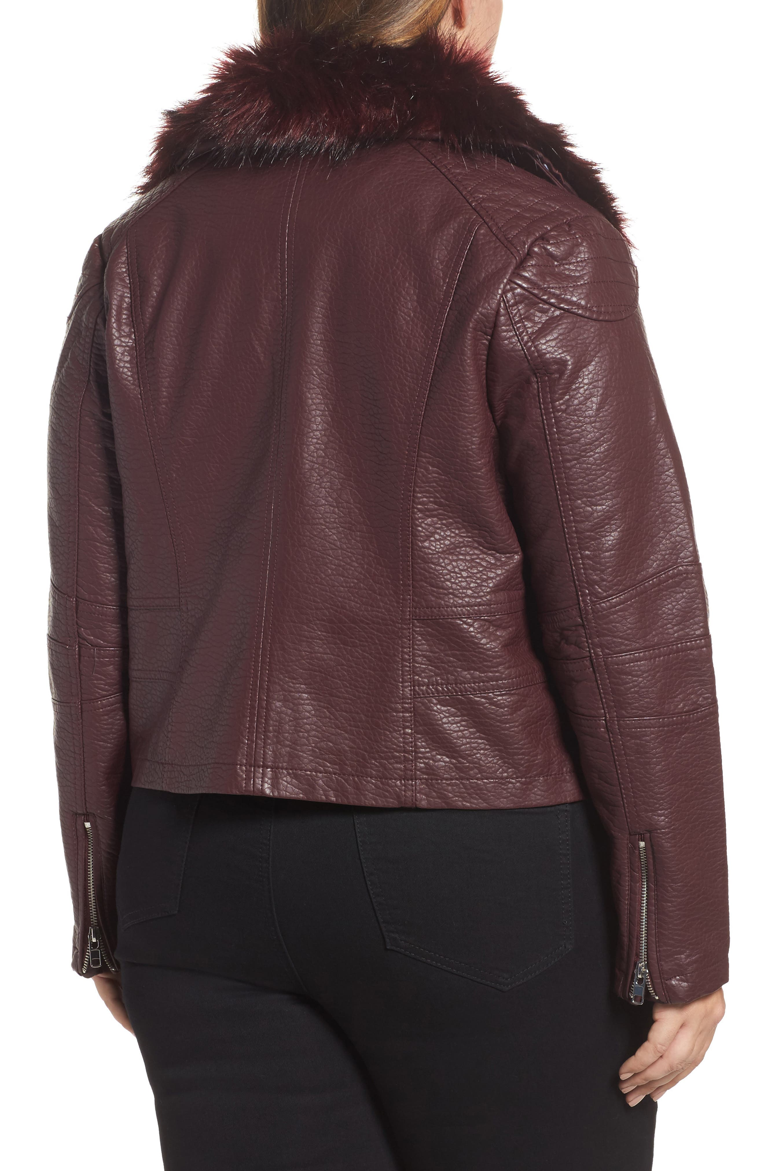Alternate Image 2  - LOST INK Faux Fur Trim Moto Jacket (Plus Size)