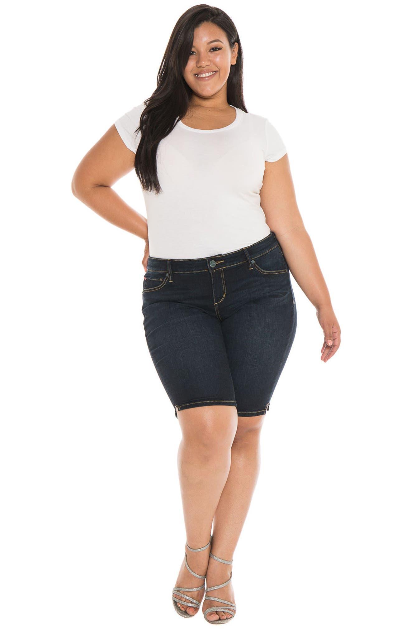 Alternate Image 2  - SLINK Jeans Stretch Denim Bermuda Shorts (Summer) (Plus Size)