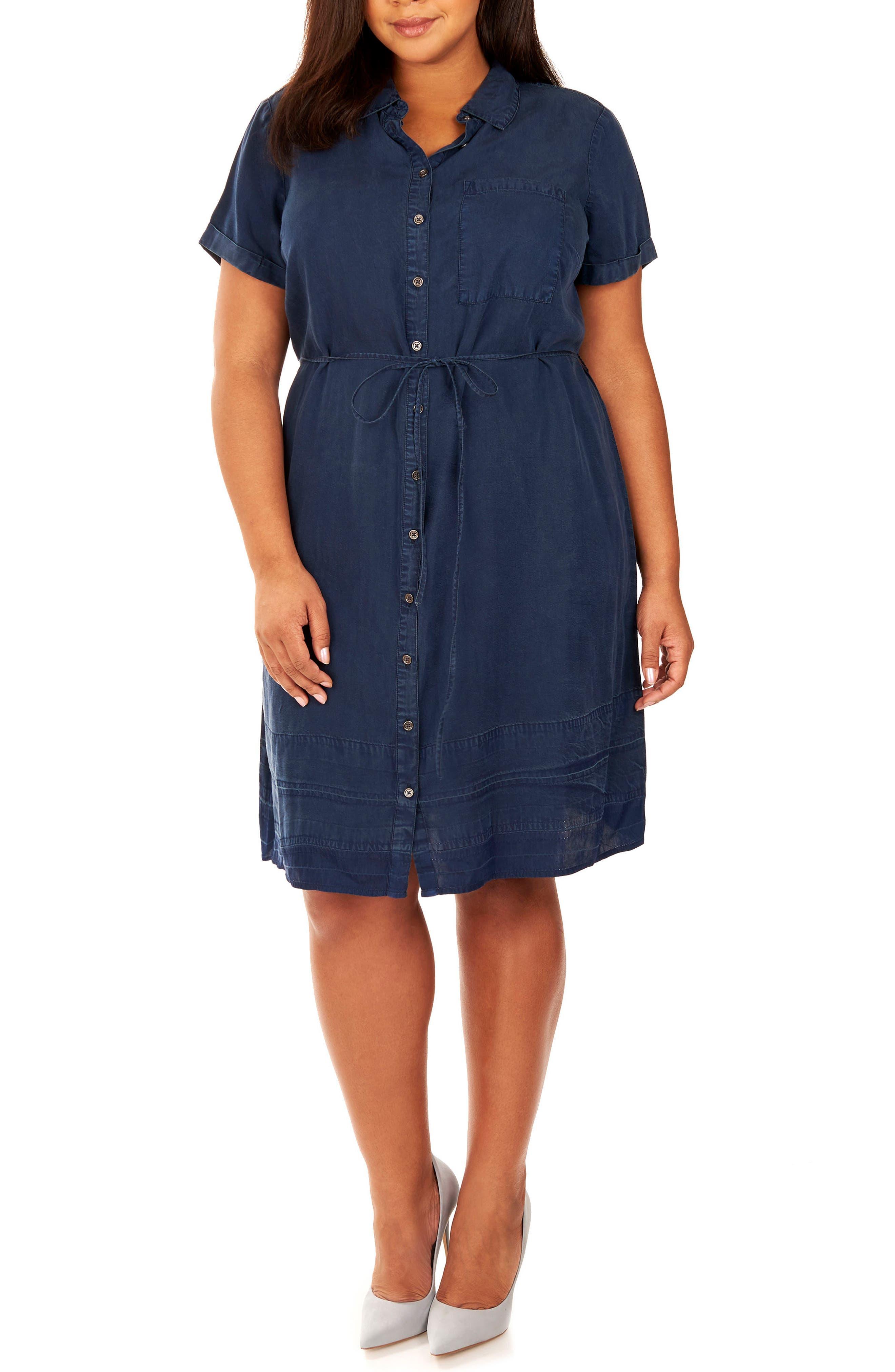 Chambray Button-Up Shirtdress,                             Main thumbnail 1, color,                             Dark Chambray