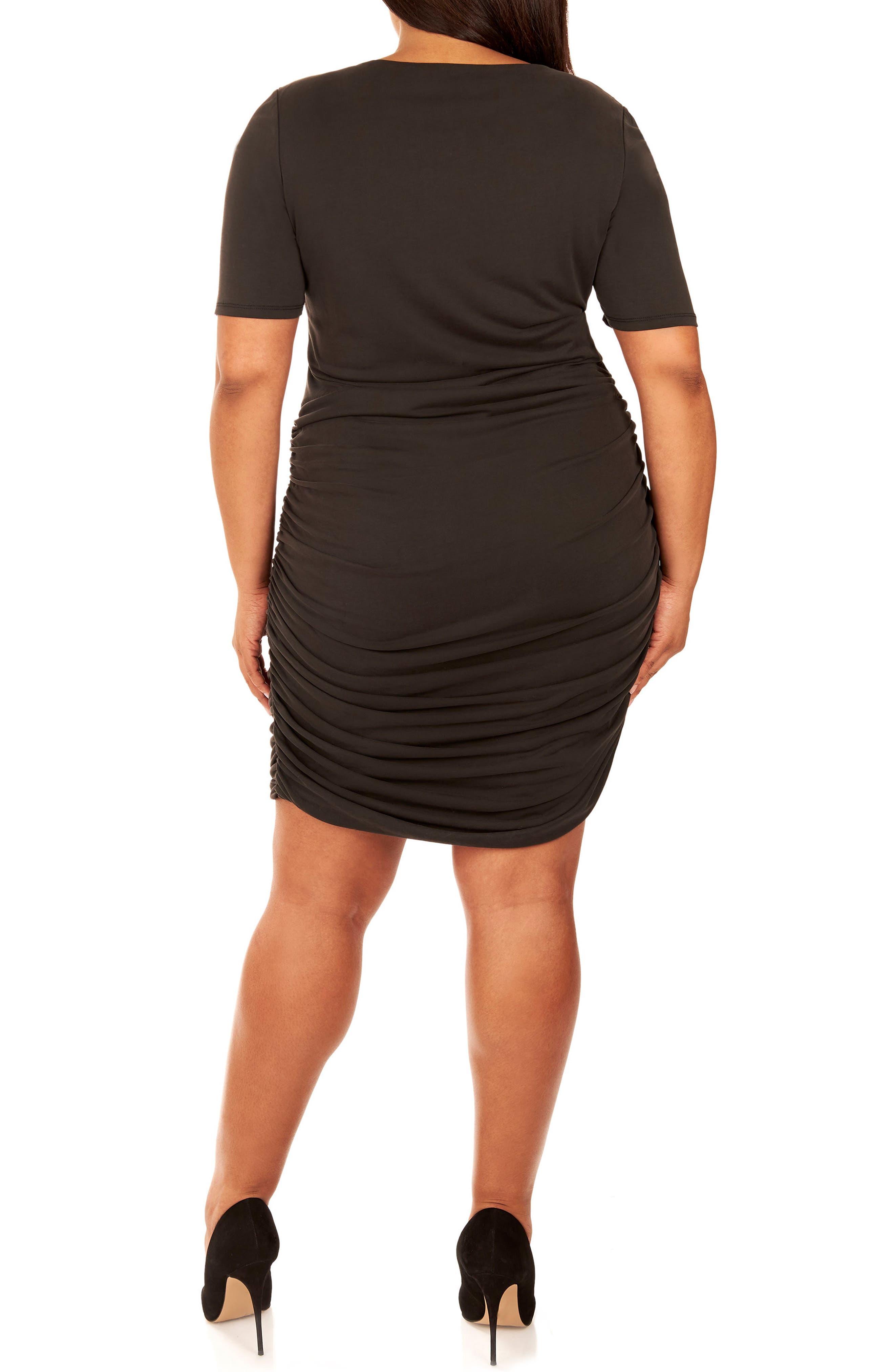 Ruched Sandwashed Jersey Dress,                             Alternate thumbnail 3, color,                             Black Beauty