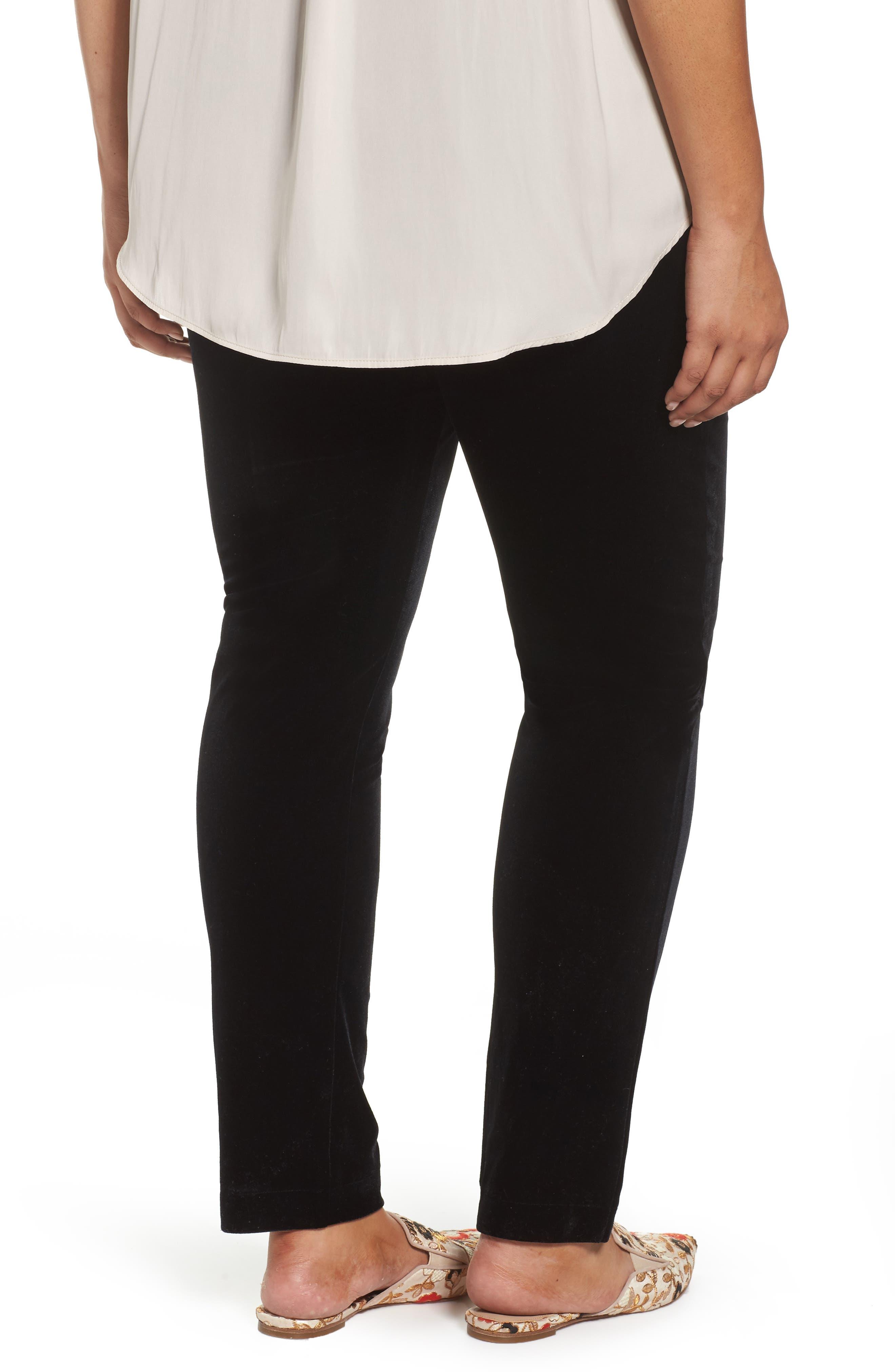 Alternate Image 2  - ELVI Black Velvet Trousers (Plus Size)